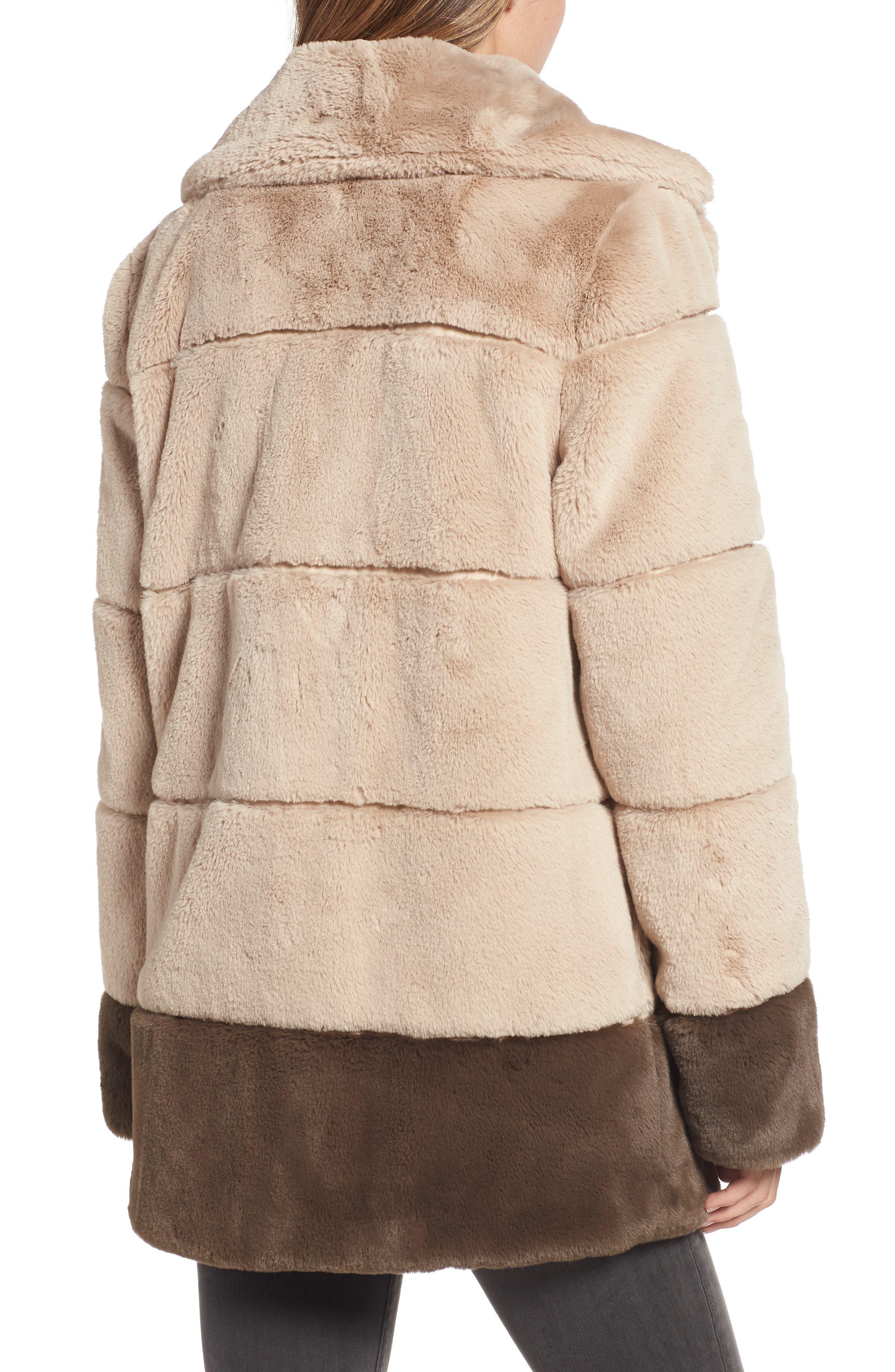 Colorblock Panel Faux Fur Jacket,                             Alternate thumbnail 2, color,                             BEIGE/ BROWN