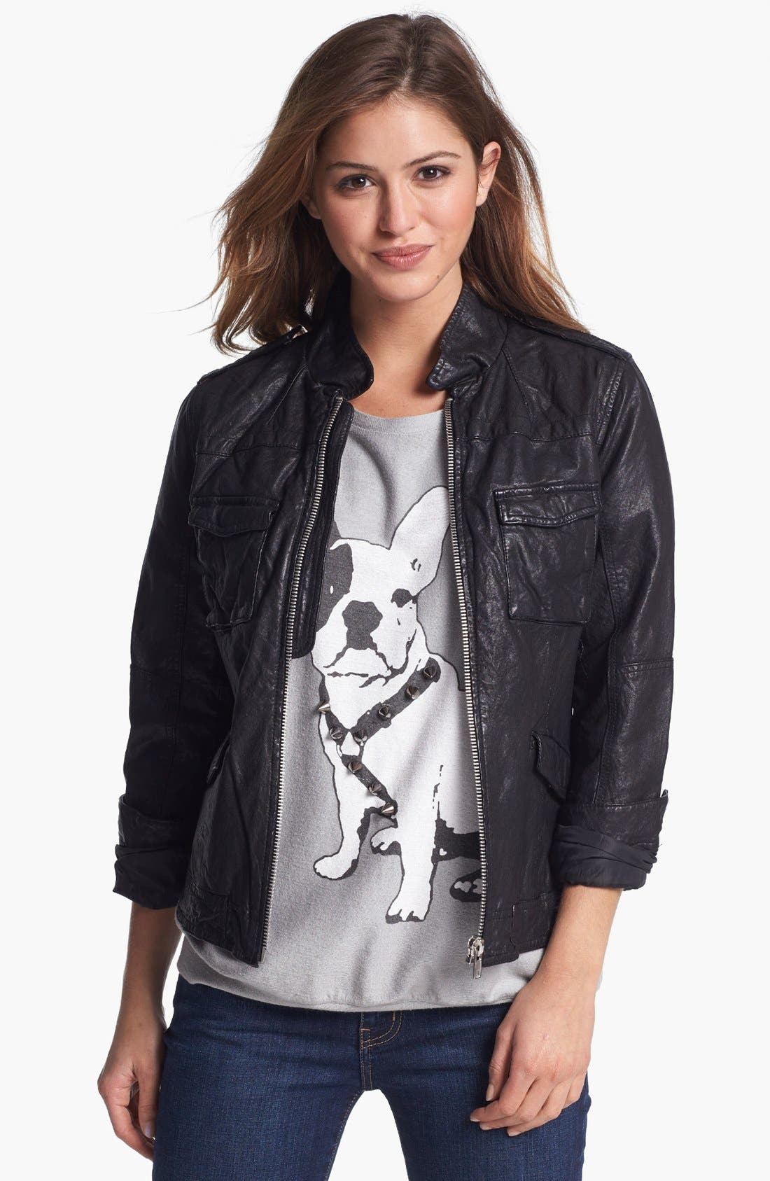 Crinkled Leather Jacket,                             Main thumbnail 1, color,                             002