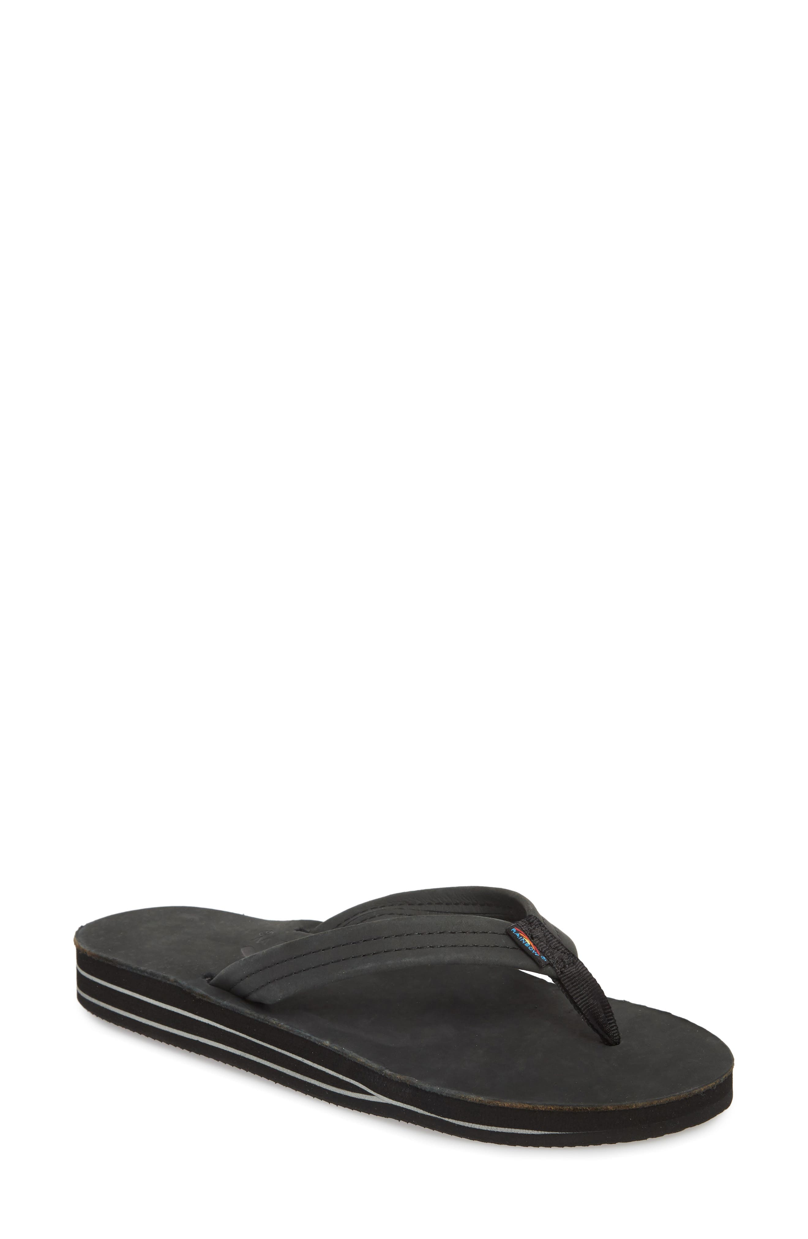 RAINBOW<SUP>®</SUP> Rainbow Double Layer Leather Flip Flop, Main, color, 001