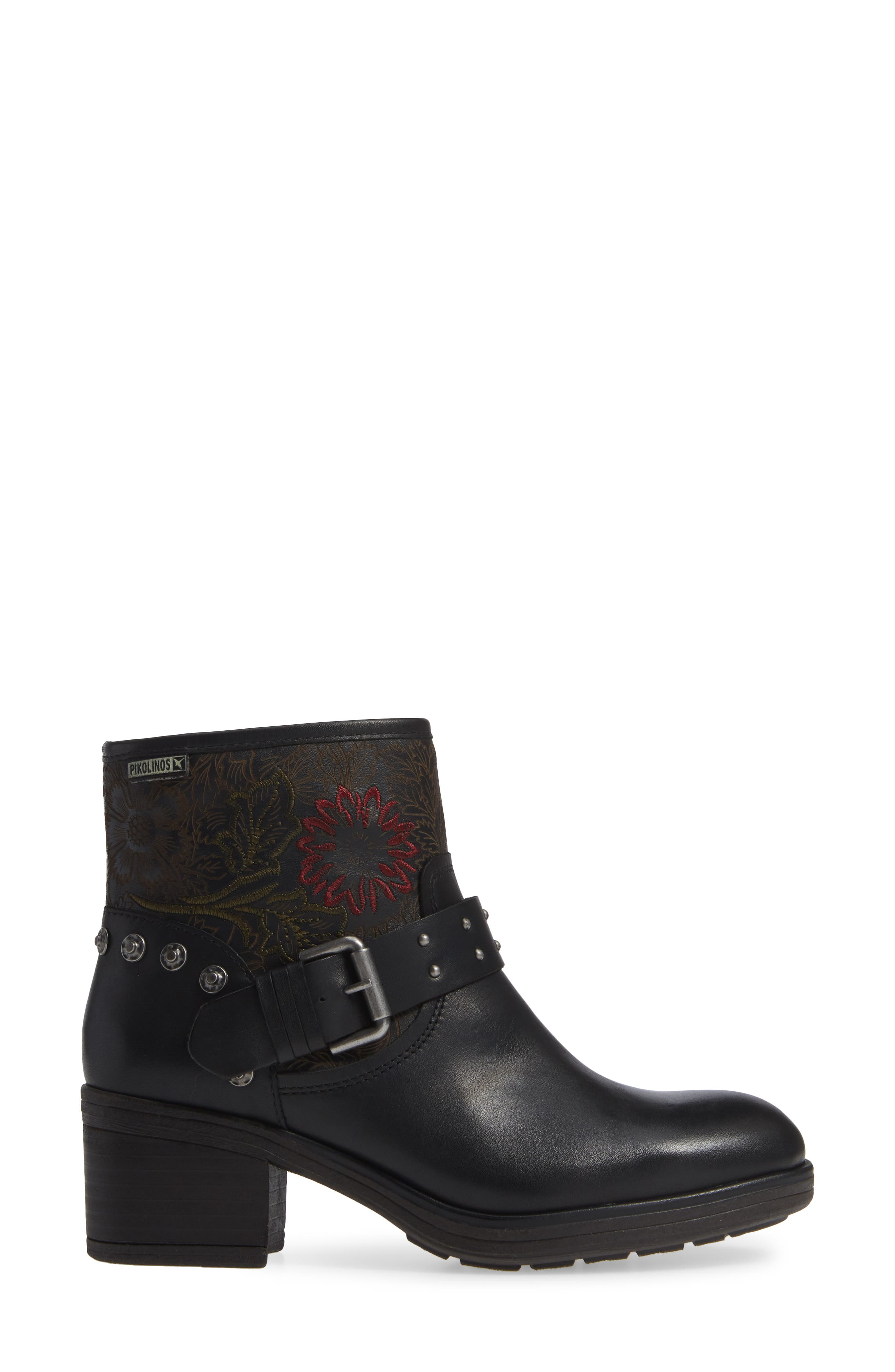 Lyon Embroidered Engineer Bootie,                             Alternate thumbnail 3, color,                             BLACK LEATHER