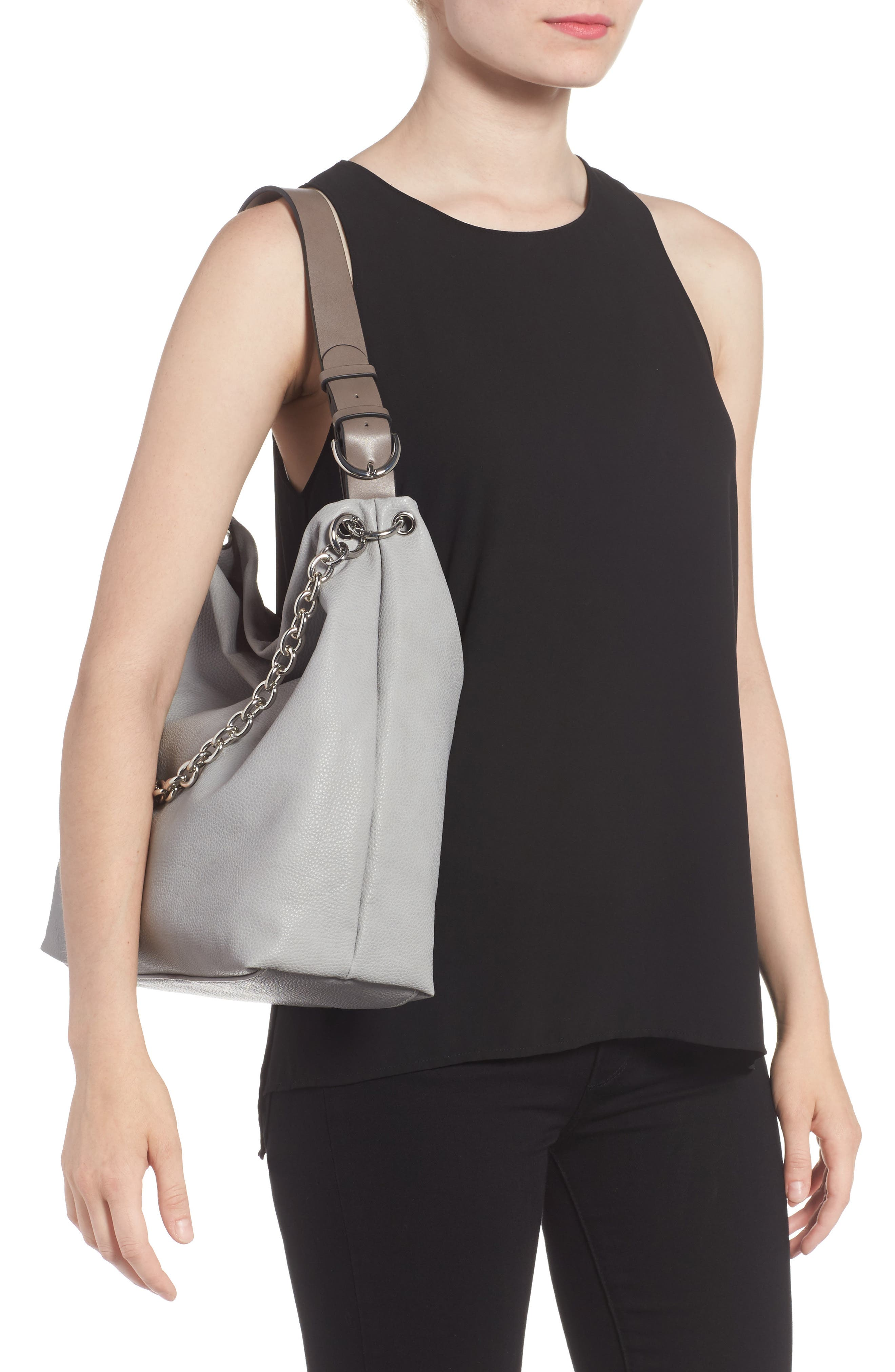 Taylor Faux Leather Shoulder Bag,                             Alternate thumbnail 5, color,