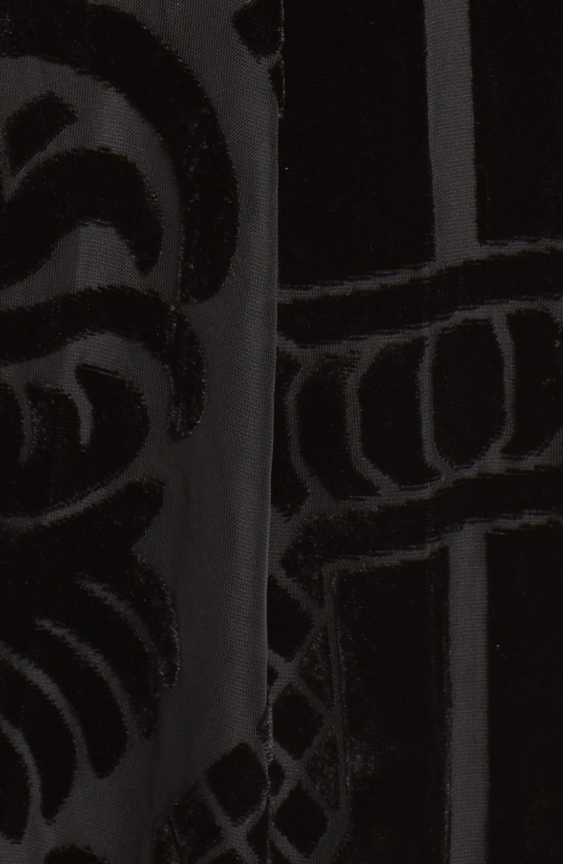 Burnout Velvet Fit & Flare Dress,                             Alternate thumbnail 6, color,                             001