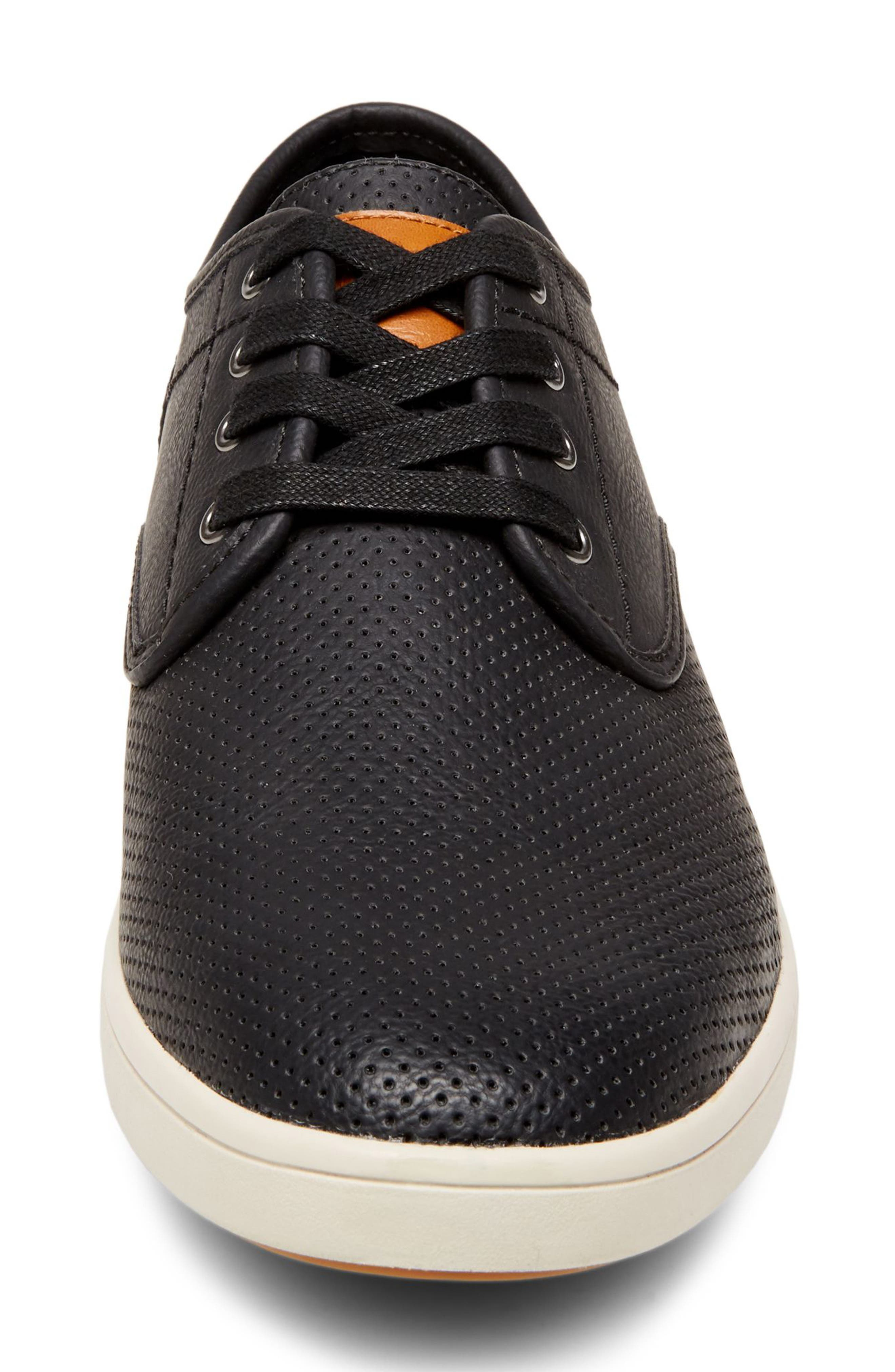 Flyerz Perforated Sneaker,                             Alternate thumbnail 4, color,                             BLACK LEATHER