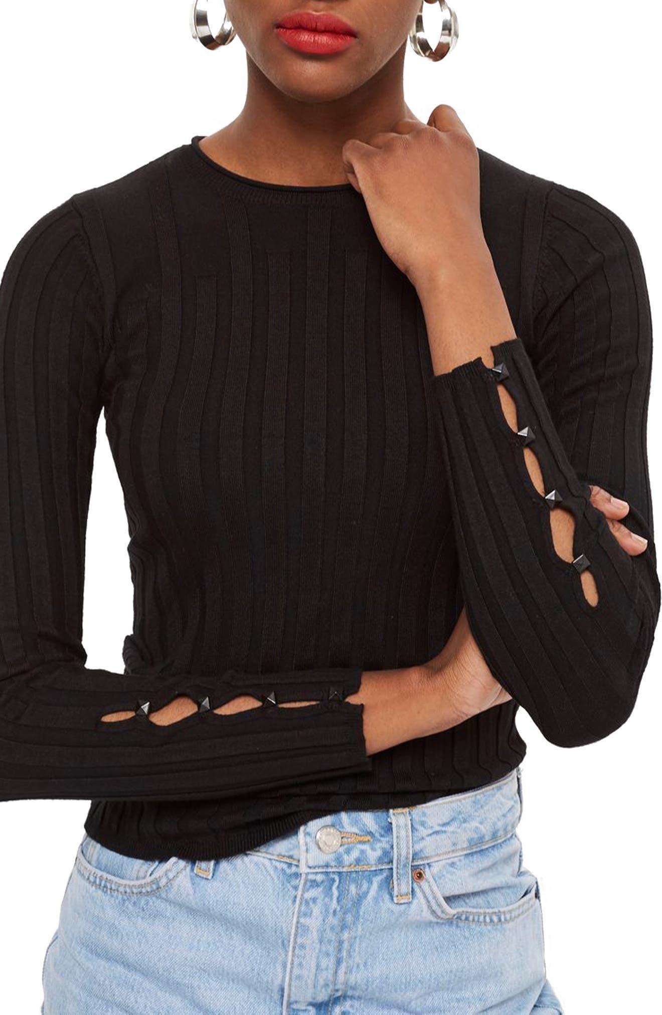 TOPSHOP,                             Ribbed Sweater,                             Main thumbnail 1, color,                             BLACK