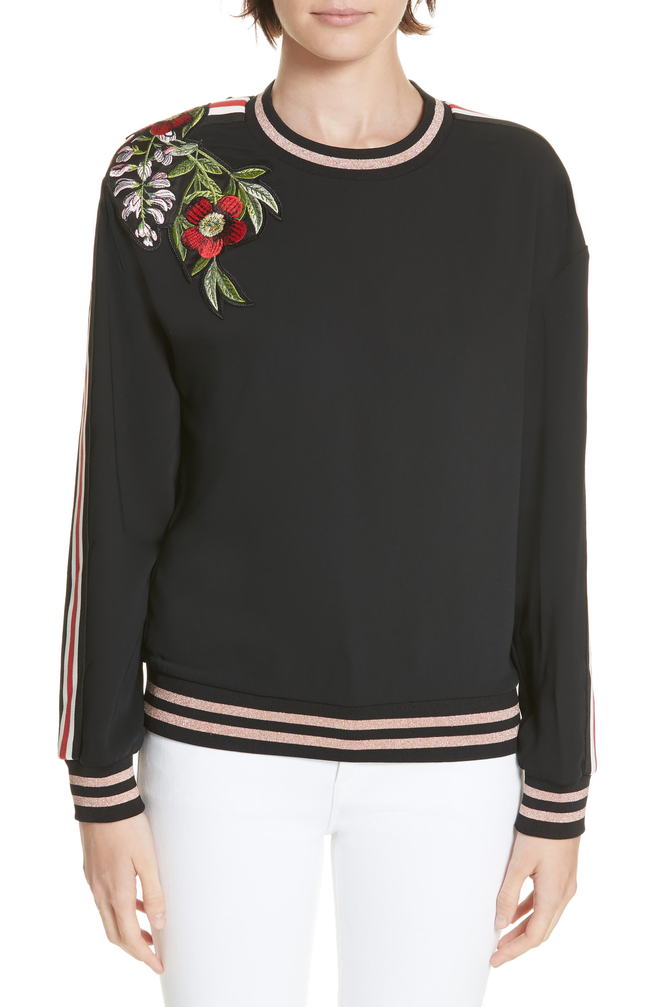 Maddeyy Embroidered Trim Top,                             Main thumbnail 1, color,                             001