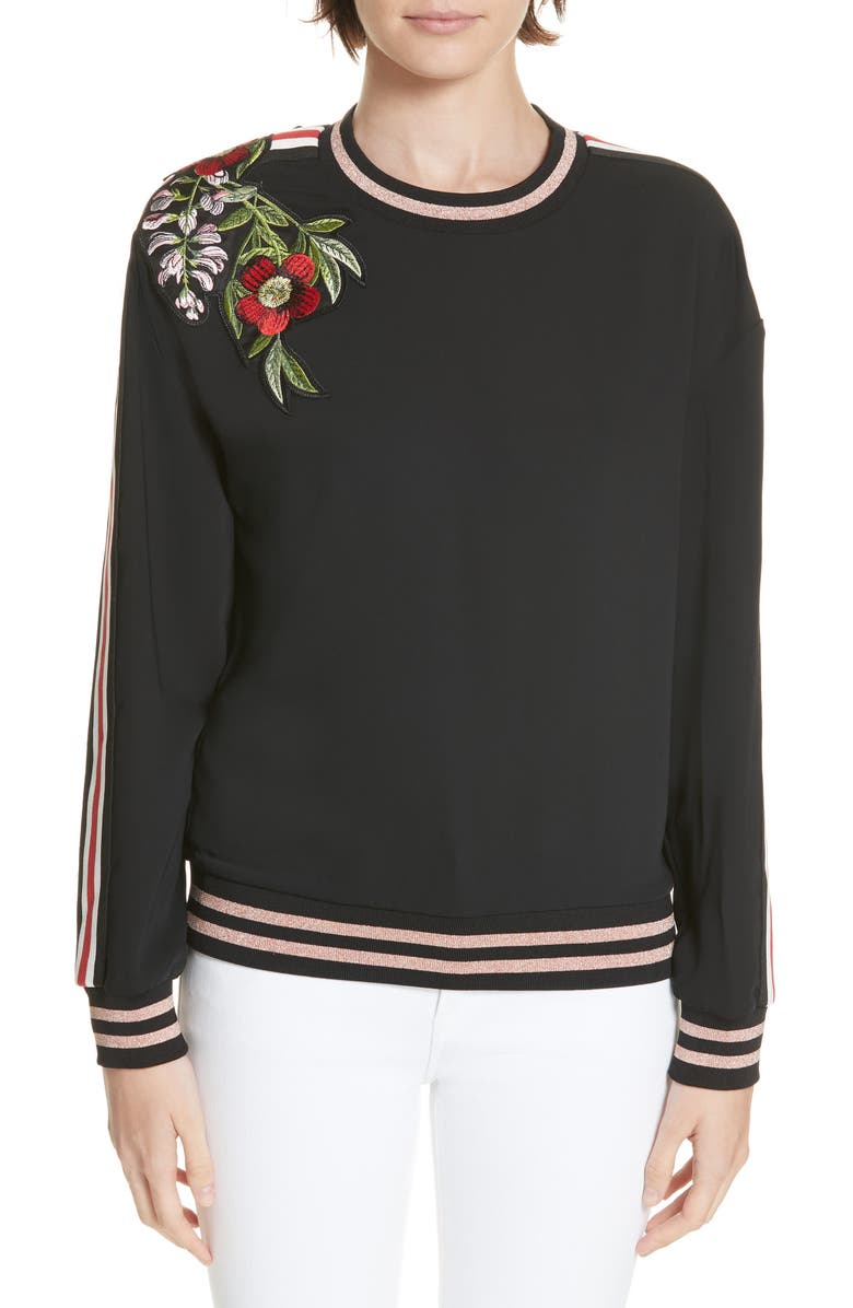 TED BAKER MADDEYY EMBROIDERED TRIM TOP
