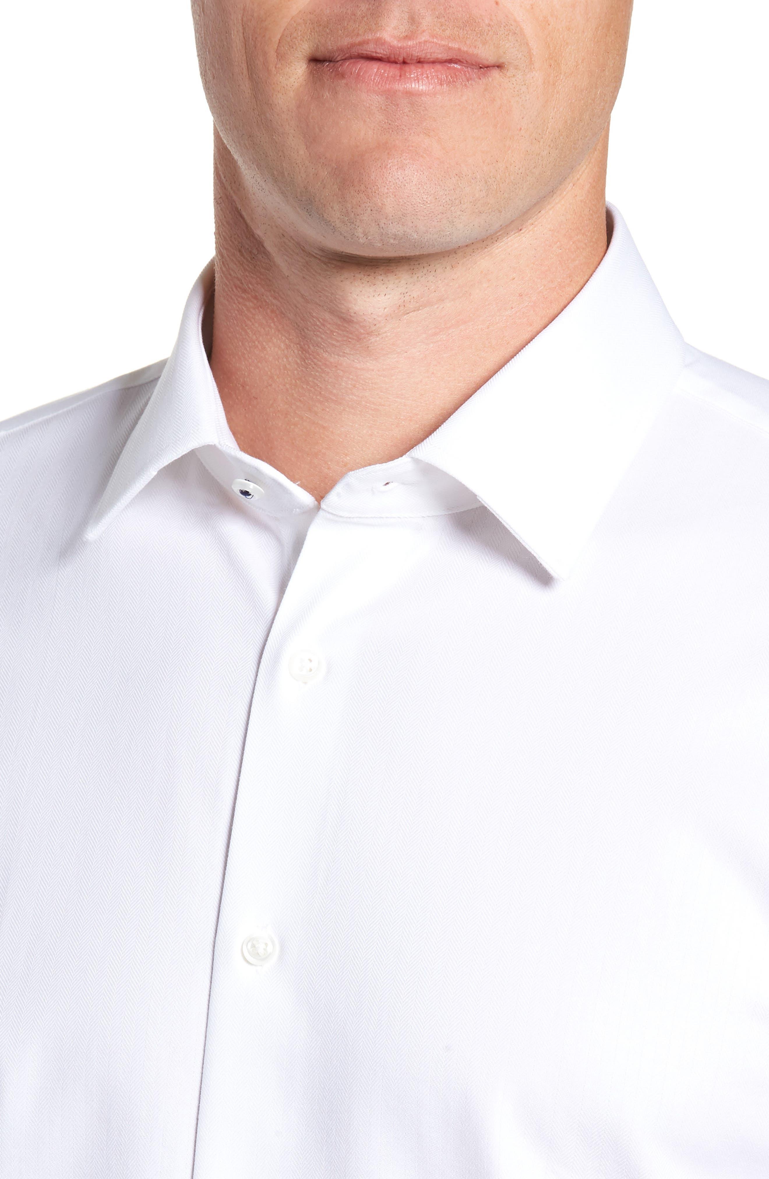 Tech-Smart Trim Fit Stretch Herringbone Dress Shirt,                             Alternate thumbnail 2, color,                             WHITE