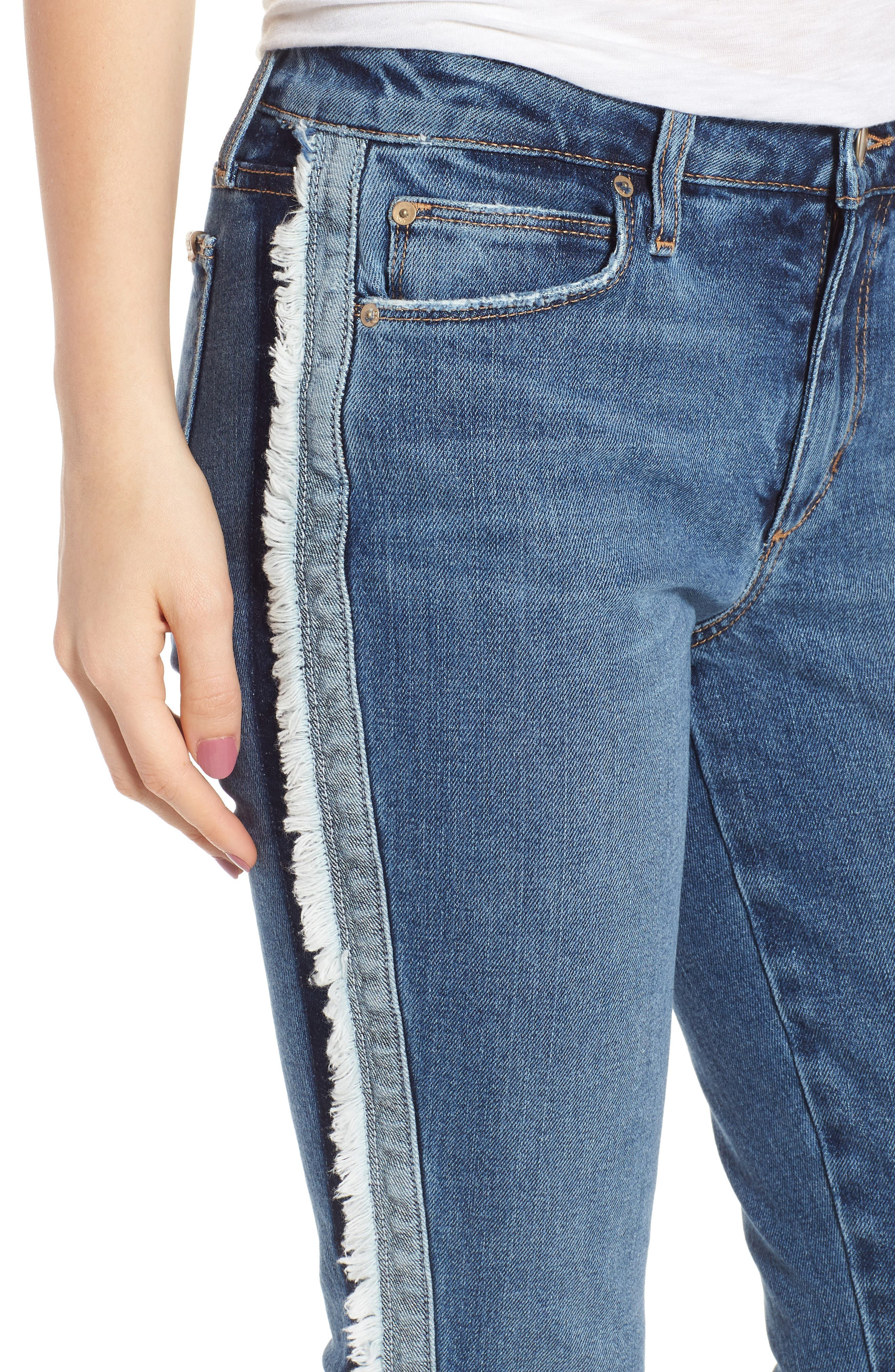Icon Side Stripe Crop Skinny Jeans,                             Alternate thumbnail 4, color,                             MADERA
