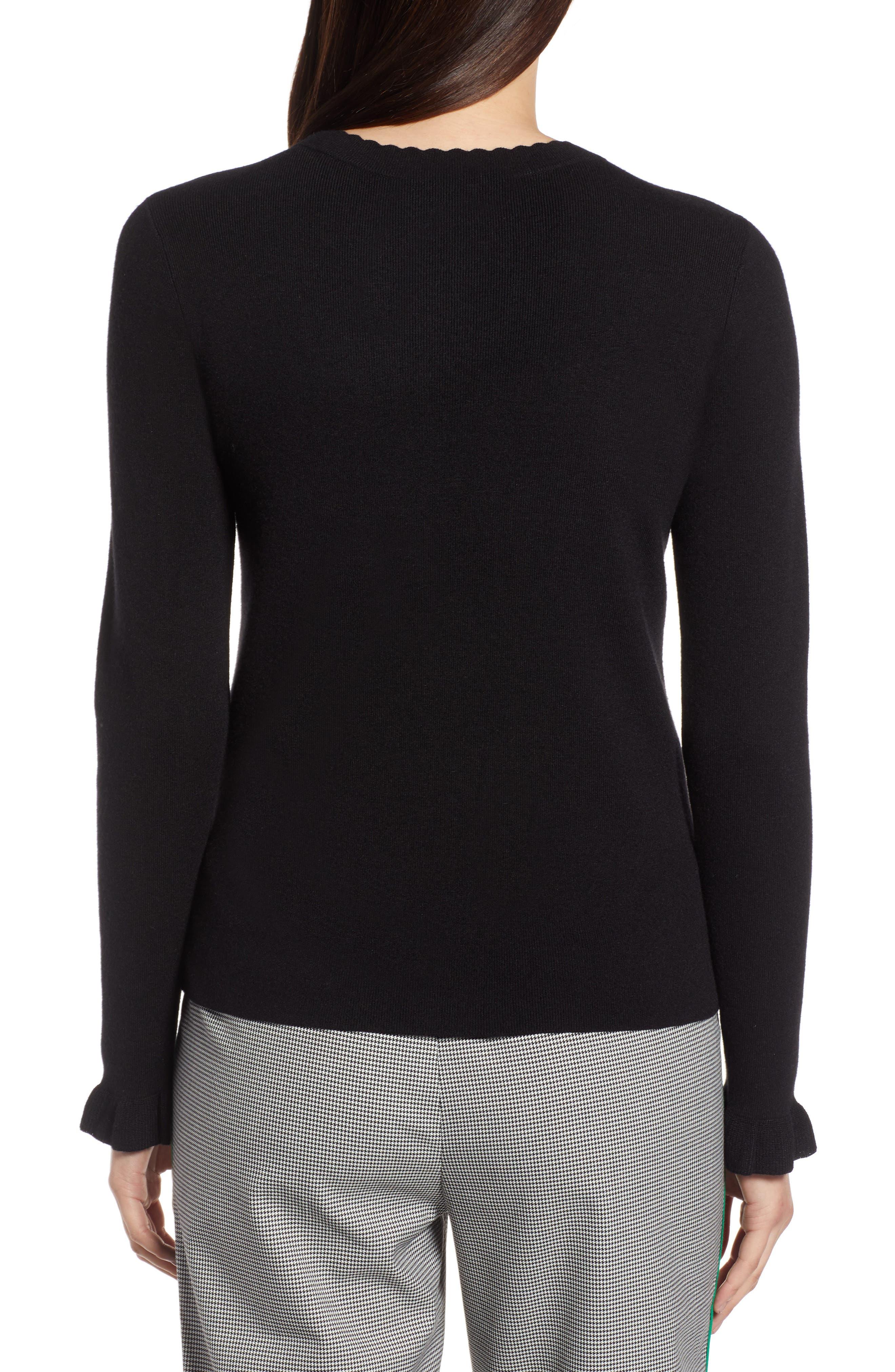 Scallop Trim Sweater,                             Alternate thumbnail 2, color,                             001