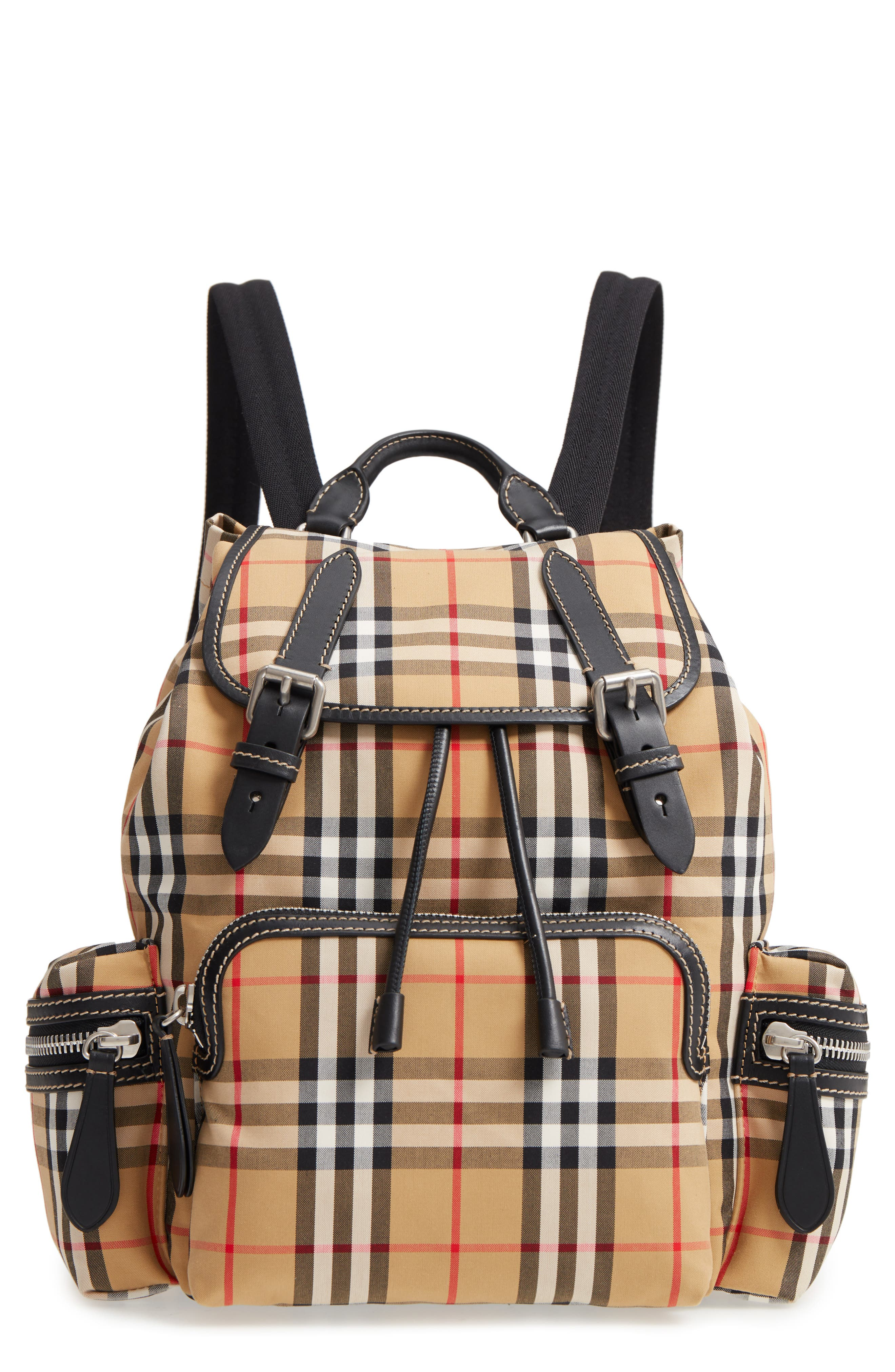 Medium Rucksack Check Cotton Backpack, Main, color, ANTIQUE YELLOW