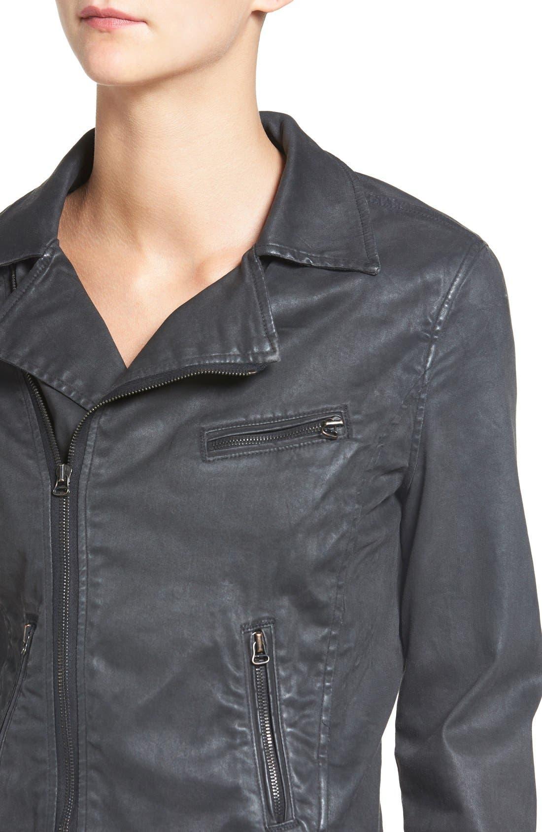 The Moto Coated Denim Jacket,                             Alternate thumbnail 4, color,                             012
