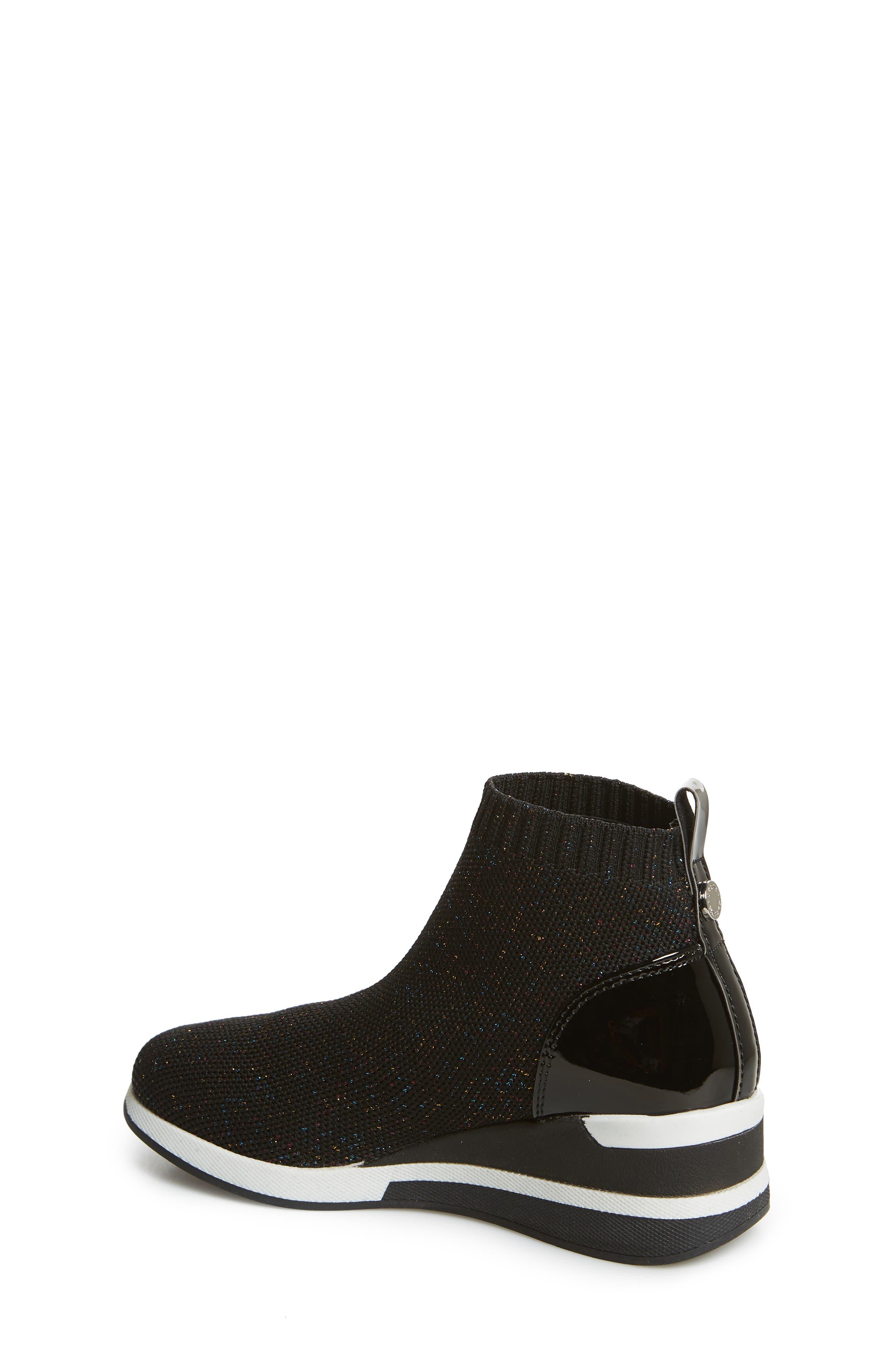 STEVE MADDEN,                             Dusky Metallic High Top Wedge Sock Sneaker,                             Alternate thumbnail 2, color,                             BLACK MULTI