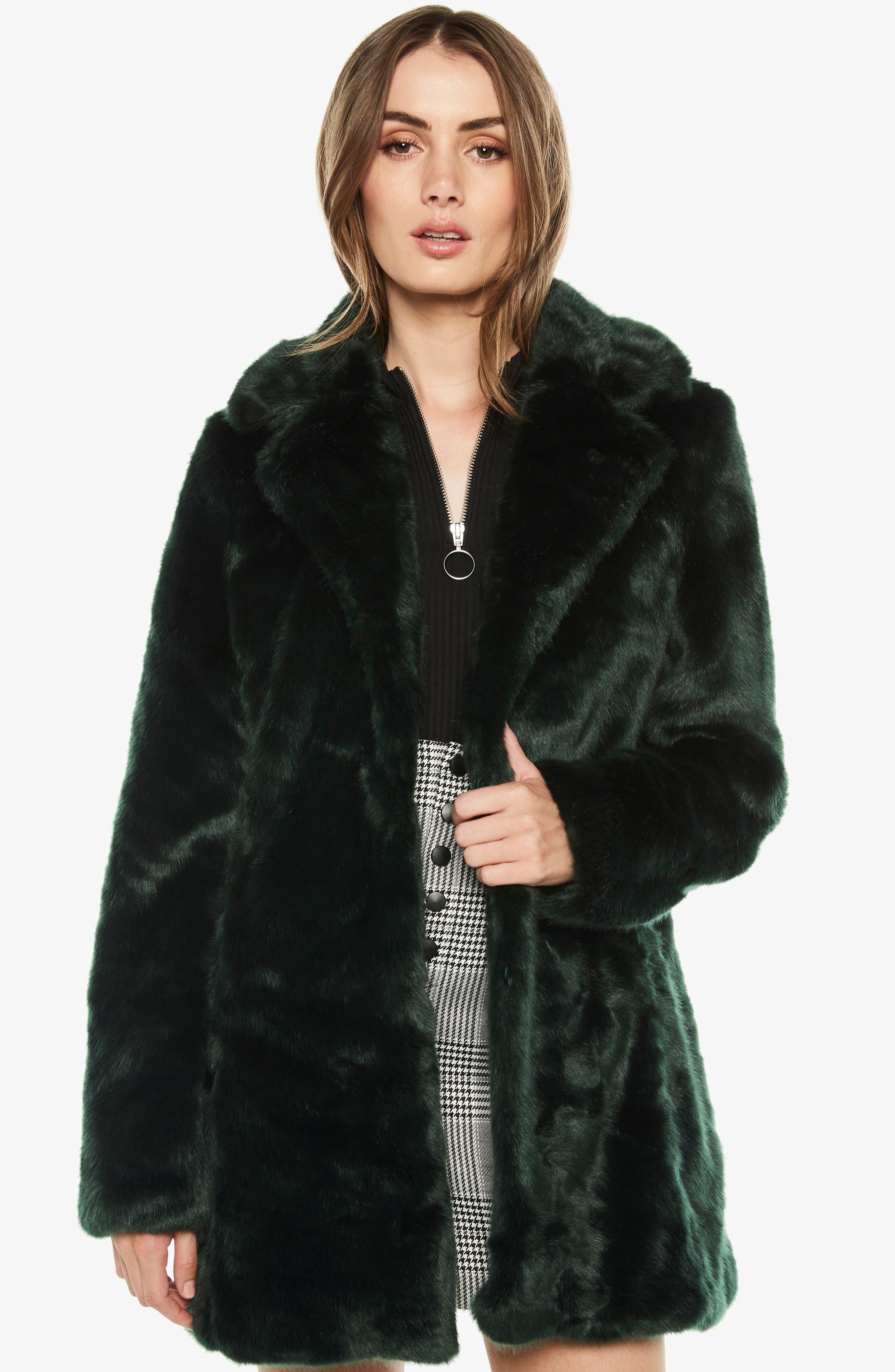 Faux Fur Coat,                             Alternate thumbnail 6, color,                             FOREST