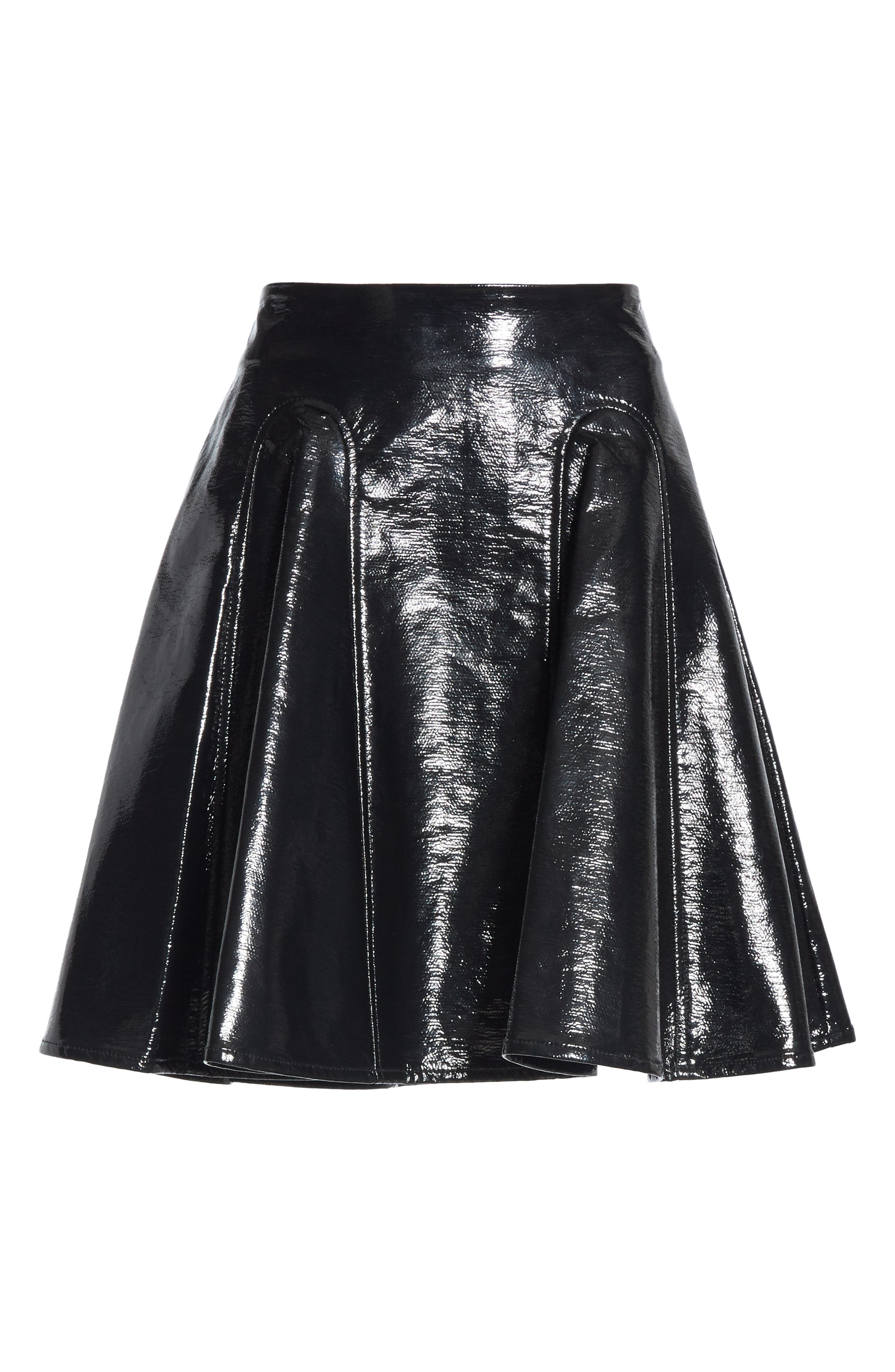 Trivia Coated Miniskirt,                             Alternate thumbnail 6, color,                             BLACK
