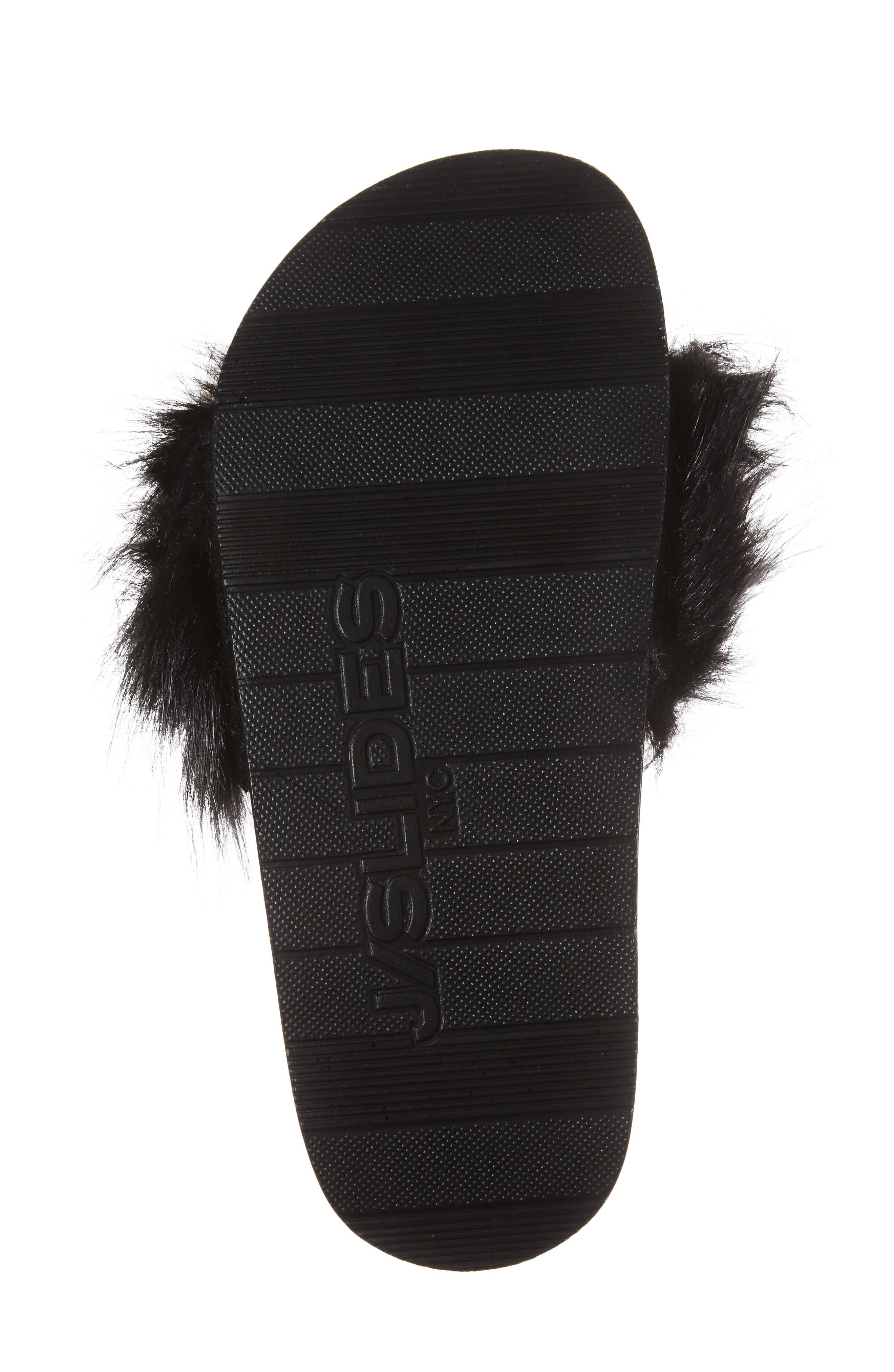 Sophie Faux Fur Slide Sandal,                             Alternate thumbnail 6, color,                             001