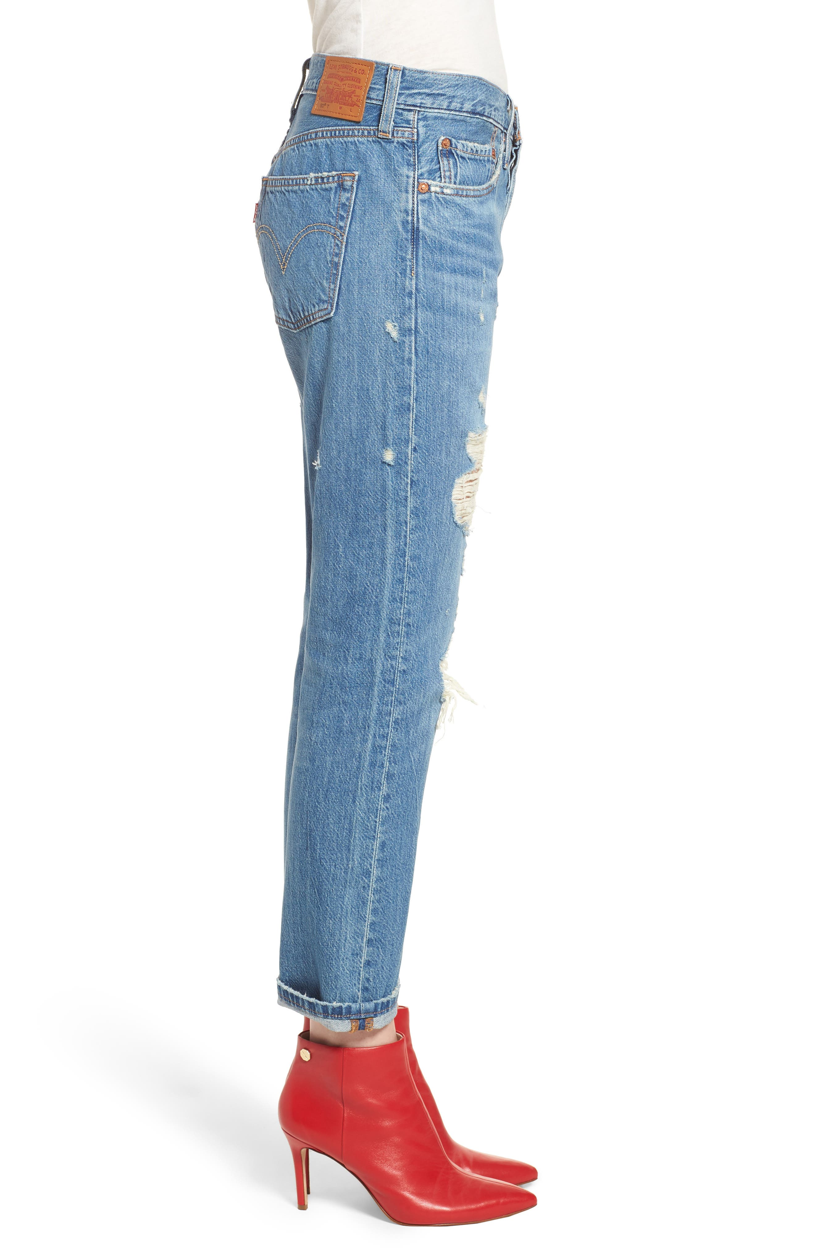 501<sup>™</sup> Taper Ripped Boyfriend Jeans,                             Alternate thumbnail 3, color,                             YOUNG AND RECKLESS