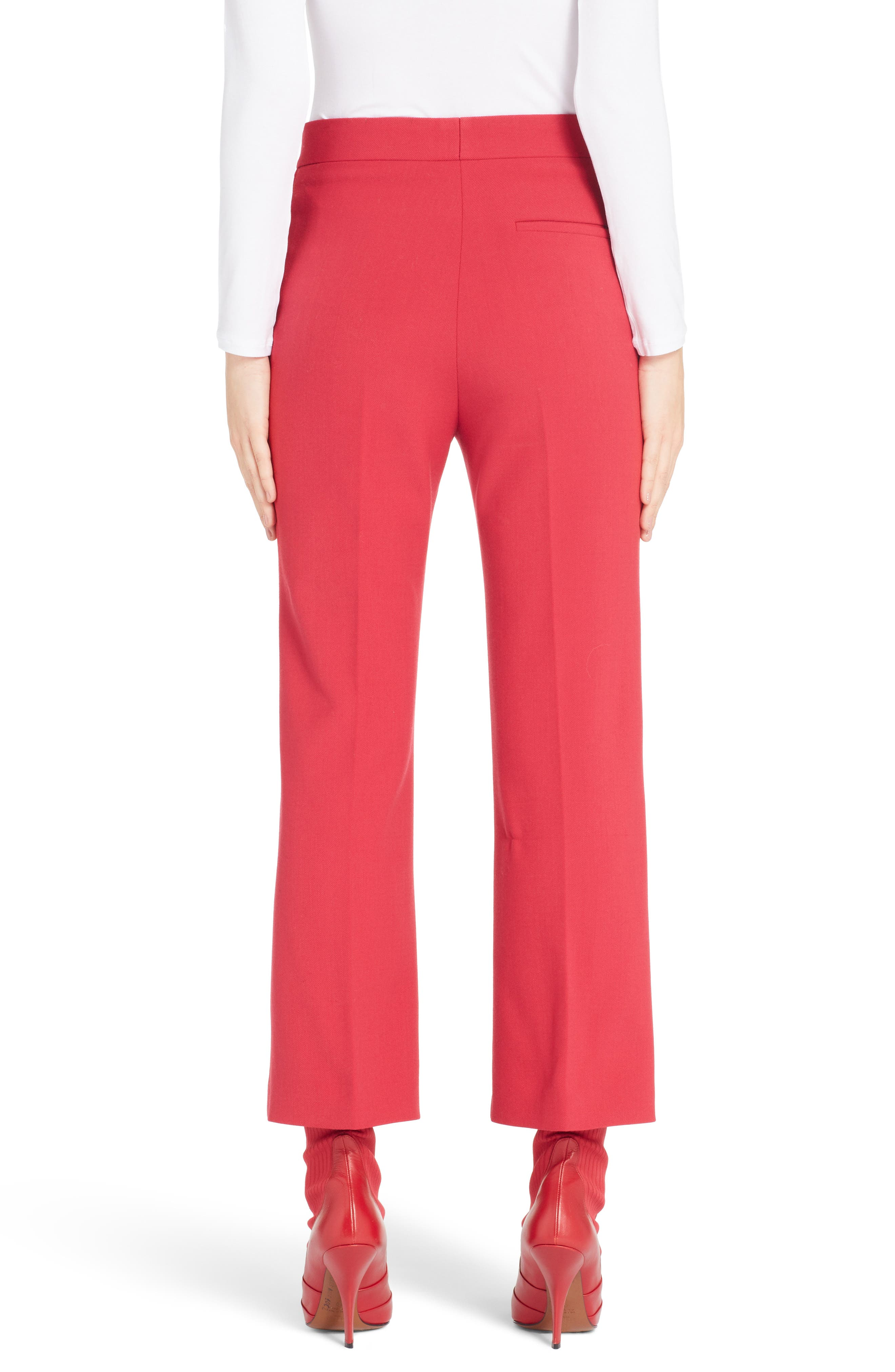 Stretch Drill Crop Flare Pants,                             Alternate thumbnail 2, color,                             RED