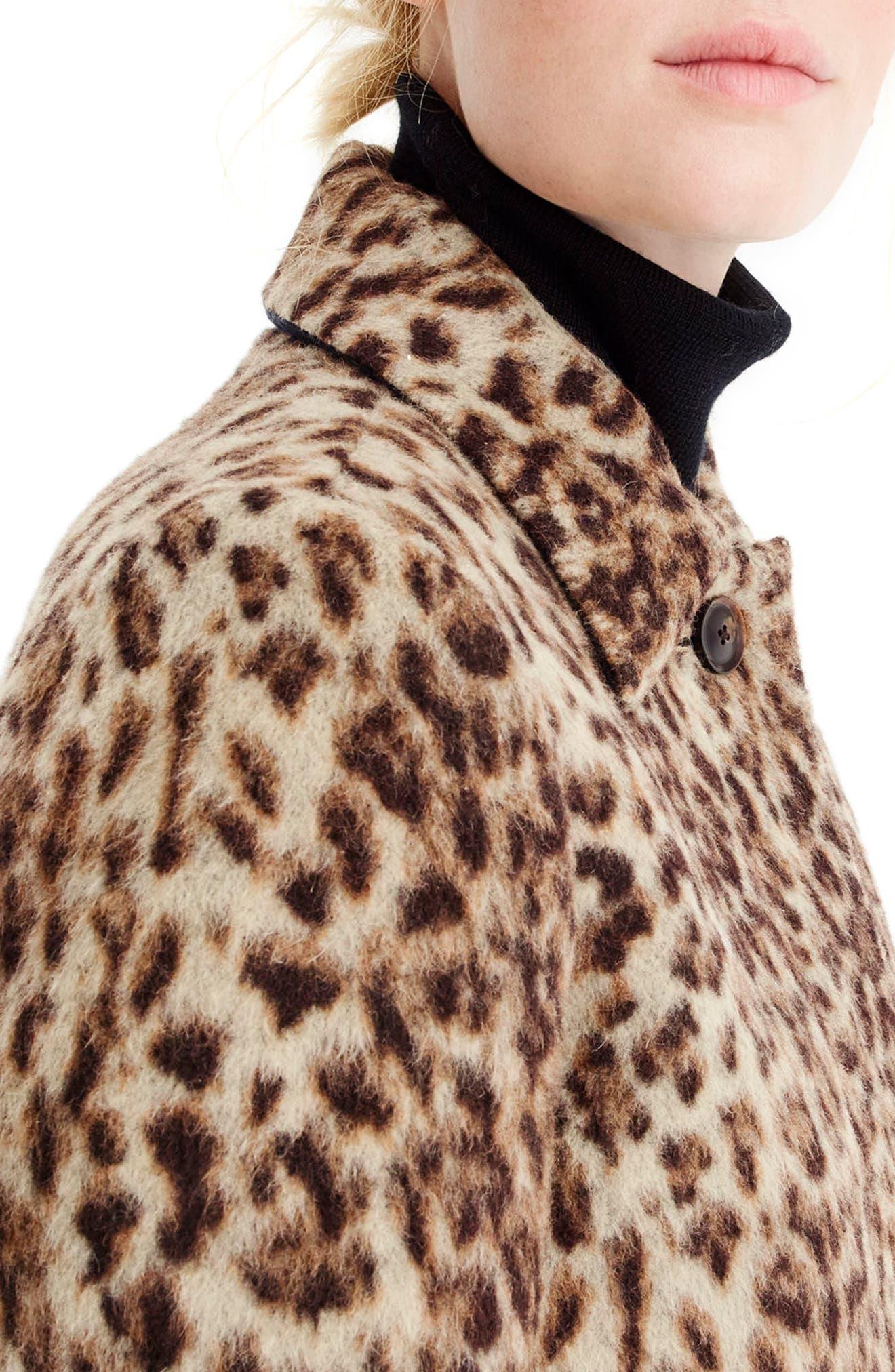 J.CREW,                             Double Leopard Topcoat,                             Alternate thumbnail 4, color,                             SNOW LEOPARD