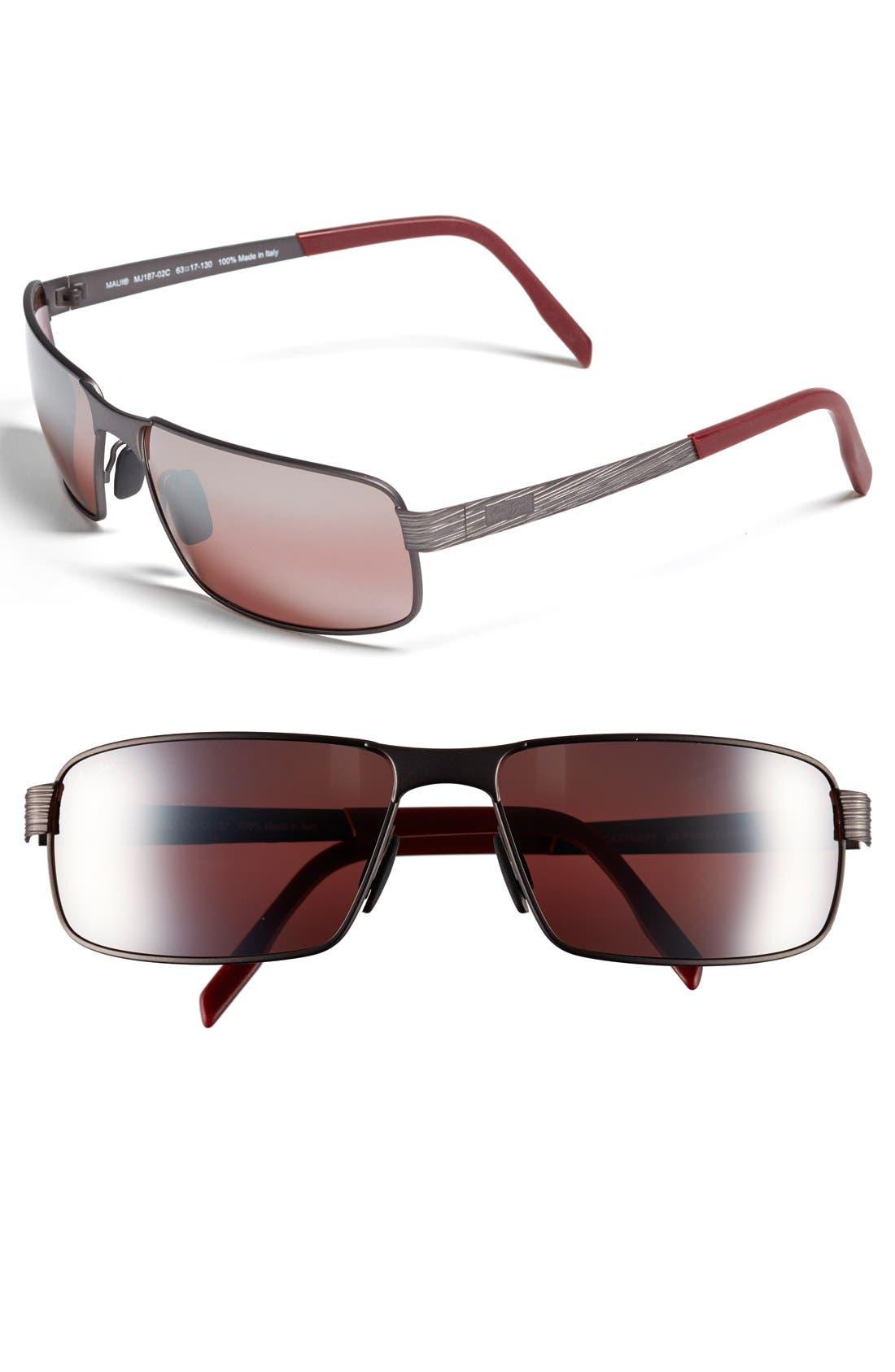 'Castaway - PolarizedPlus<sup>®</sup>2' 63mm Polarized Sunglasses,                             Main thumbnail 1, color,                             DARK GUNMETAL