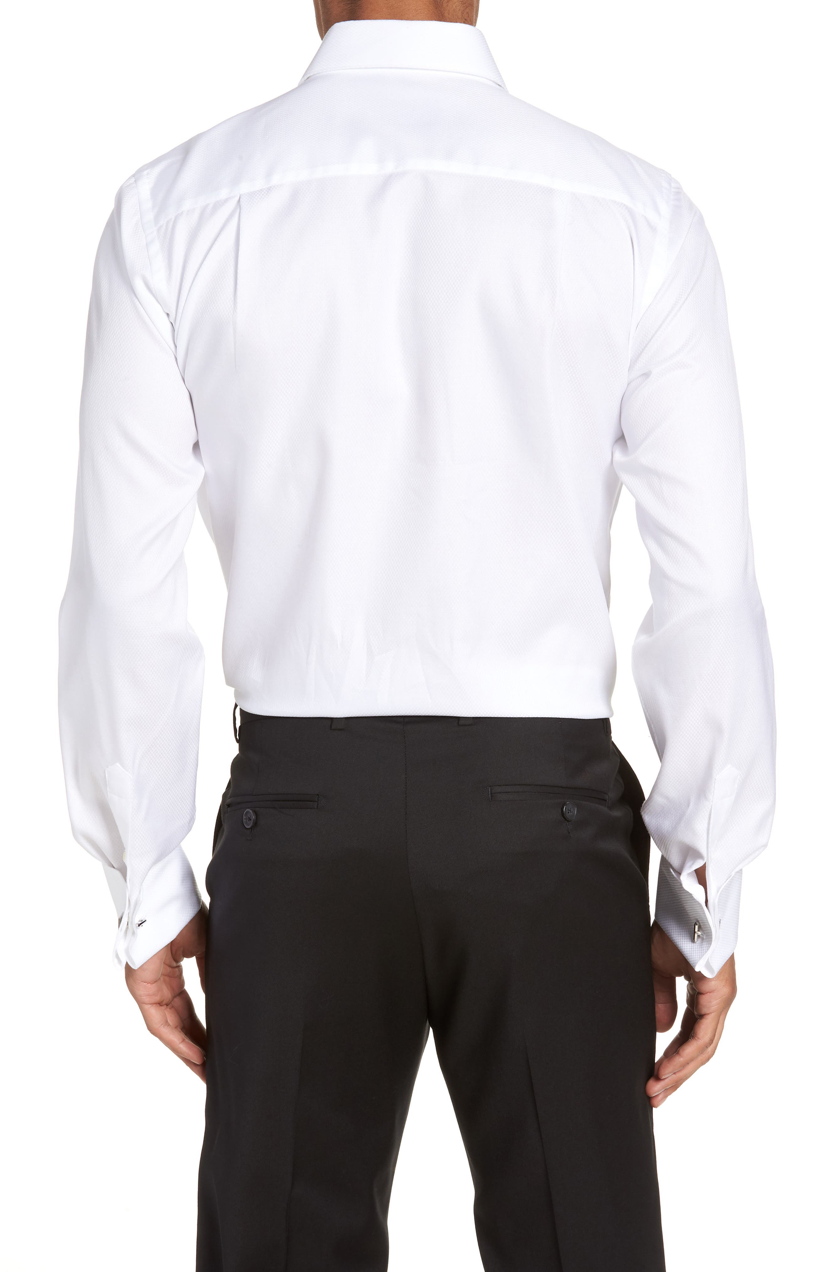 Trim Fit Solid French Cuff Tuxedo Shirt,                             Alternate thumbnail 3, color,                             WHITE