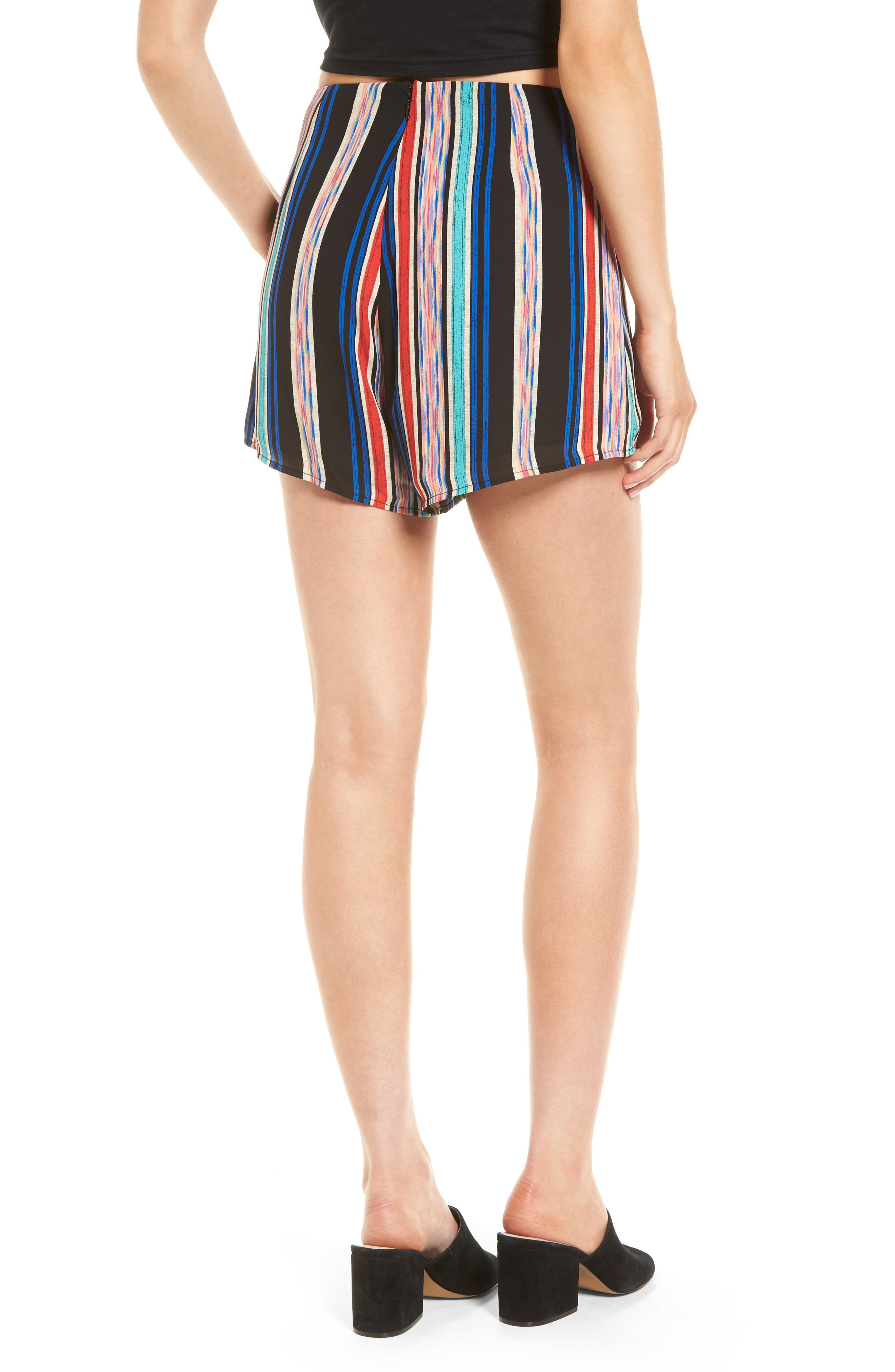 Pleat Front High Waist Shorts,                             Alternate thumbnail 2, color,                             001
