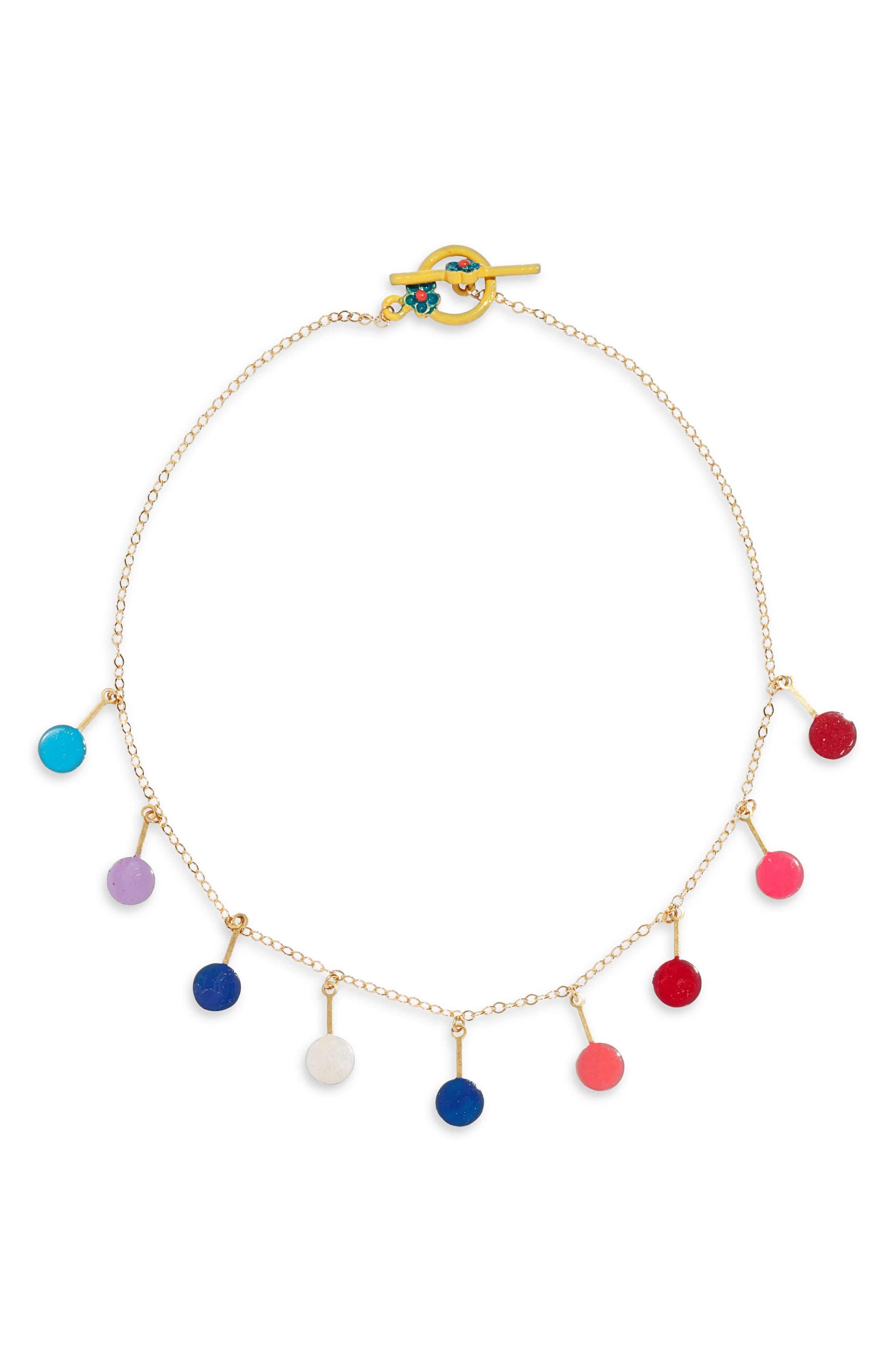 Colorful Dots Choker Necklace, Main, color, 960