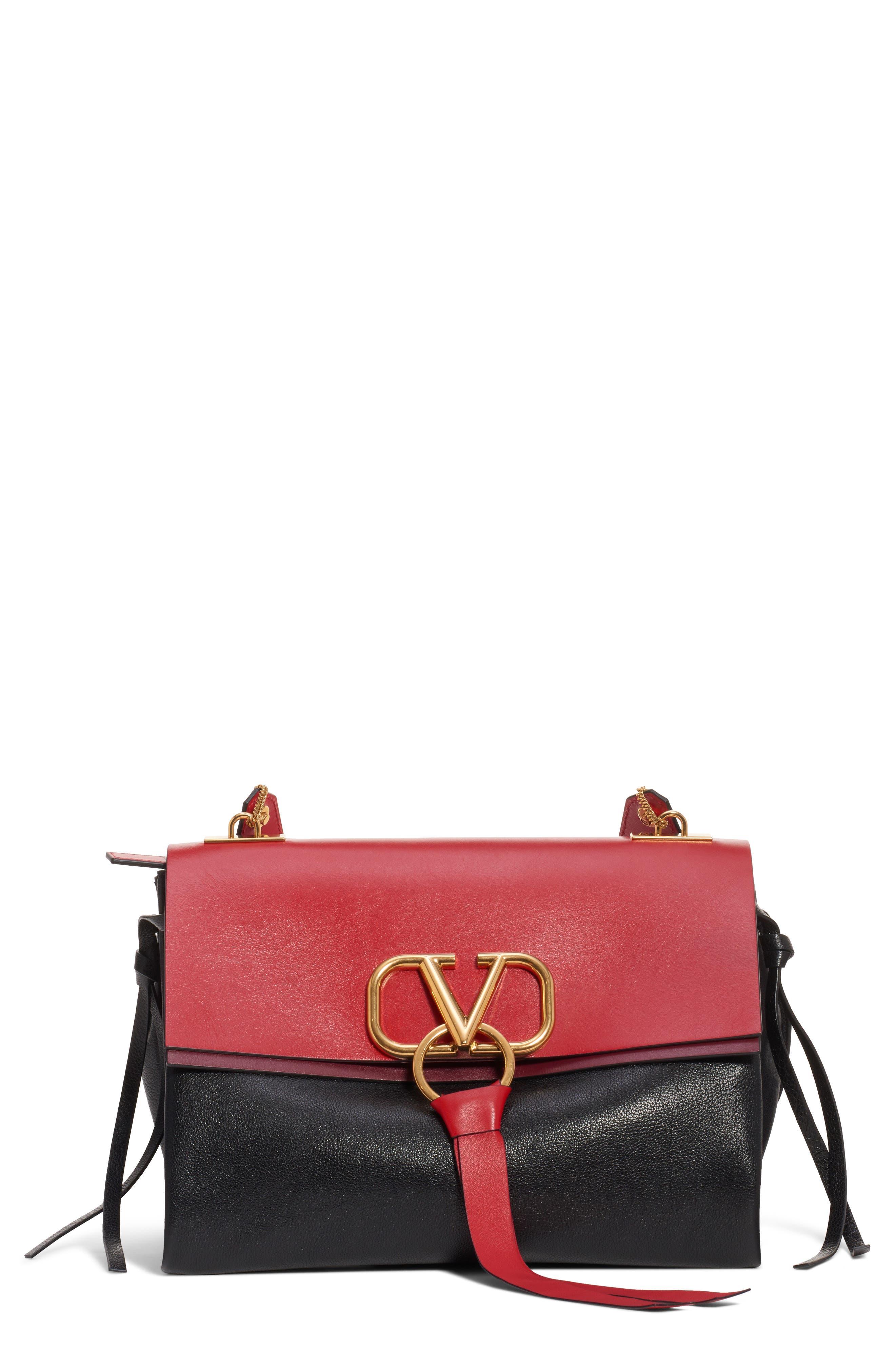 Medium V-Ring Leather Shoulder Bag, Main, color, ROUGE PUR-CERISE/ NERO