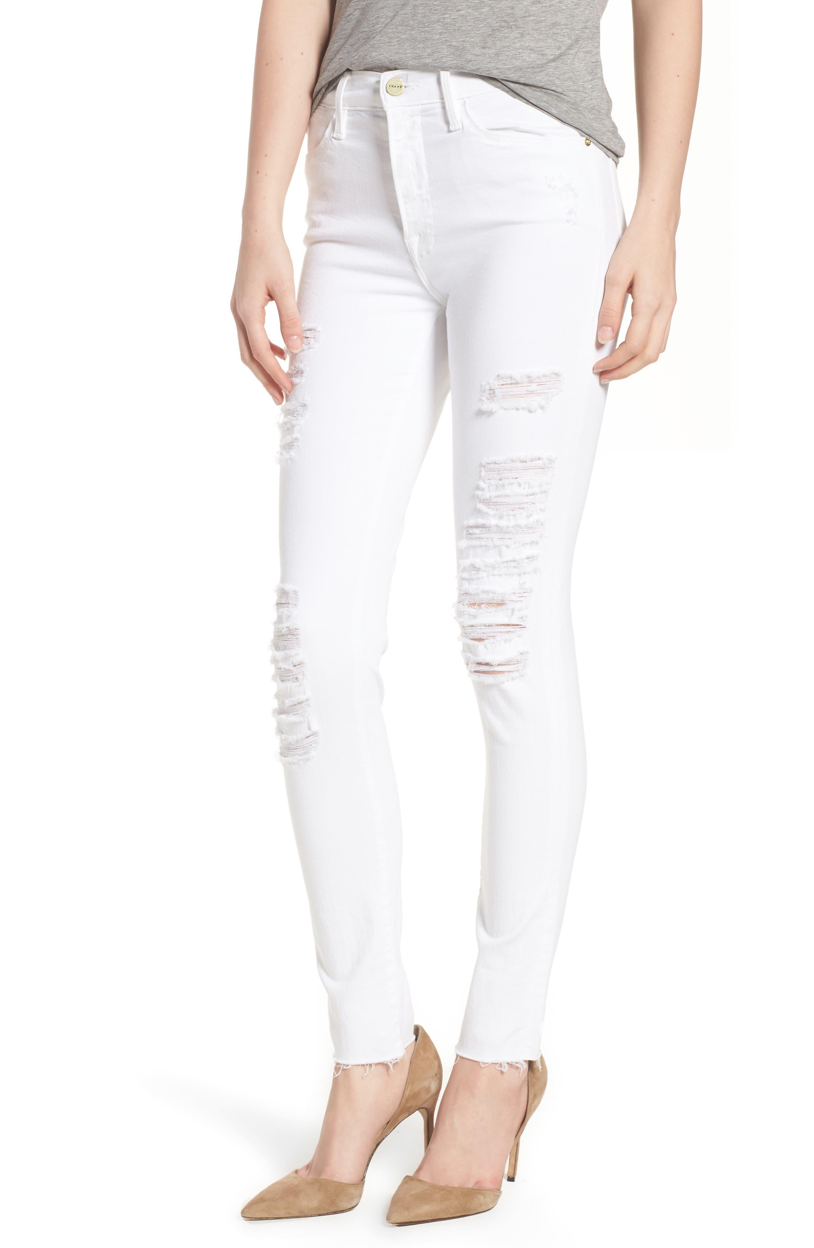 Le Color High Waist Skinny Jeans,                         Main,                         color, BLANC RIP