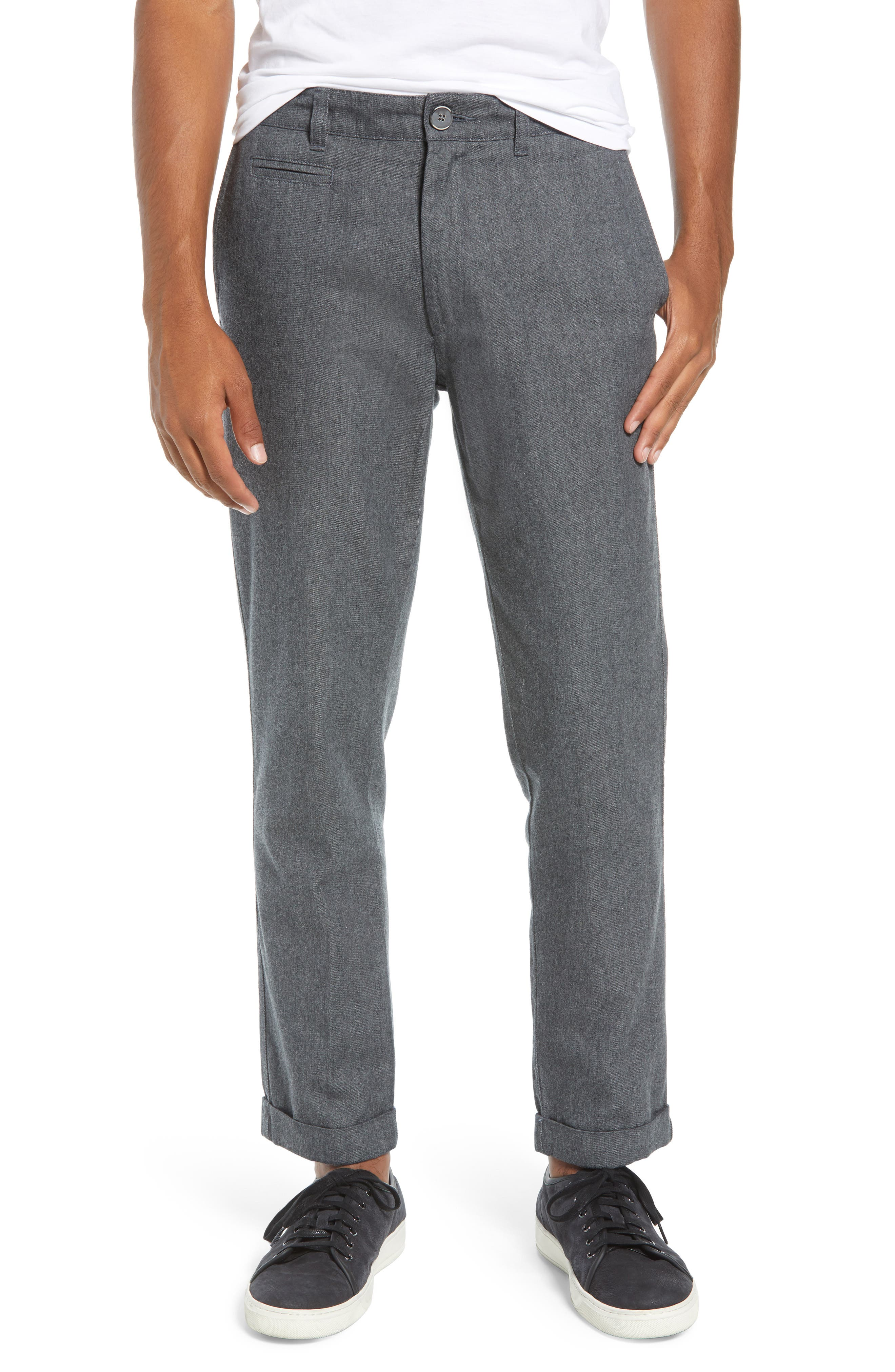 LIFE/AFTER/DENIM,                             Bixi Slim Cotton Twill Trousers,                             Main thumbnail 1, color,                             HEATHER CHARCOAL