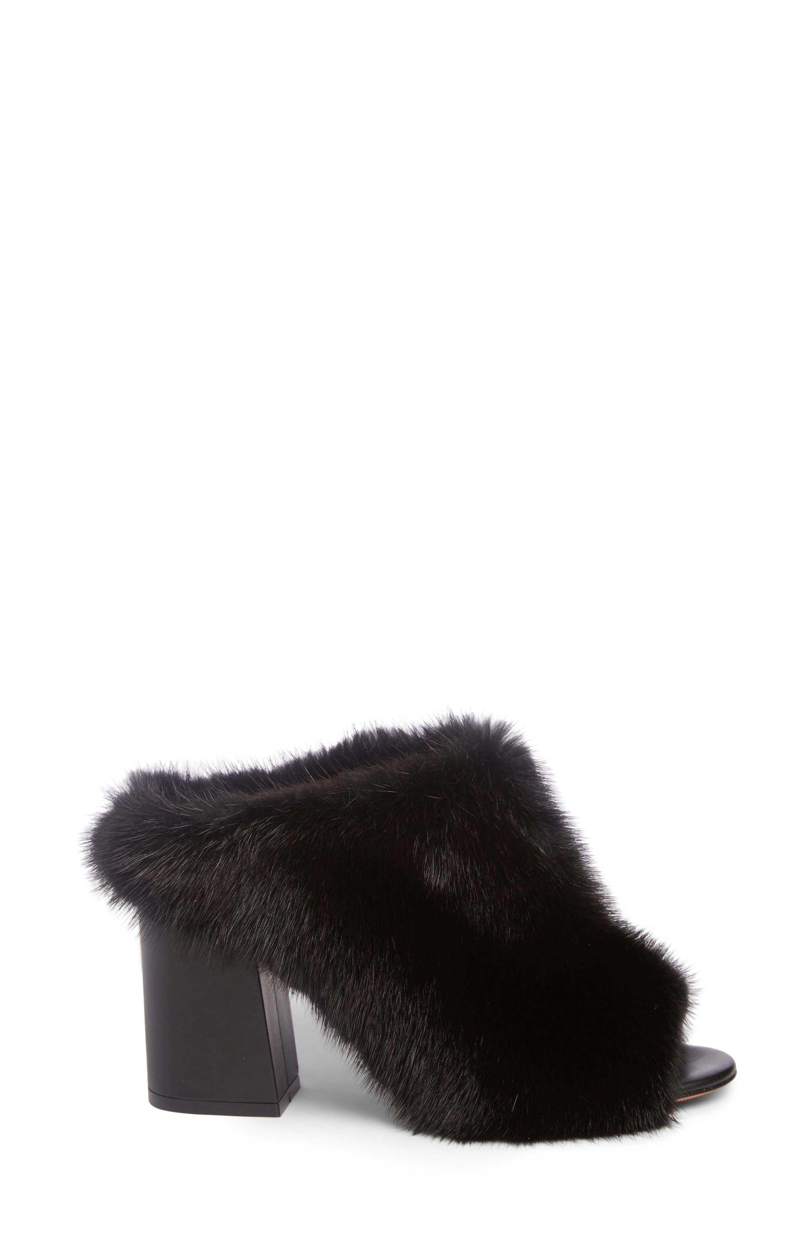 Paris Genuine Mink Fur Mule,                             Alternate thumbnail 3, color,                             001