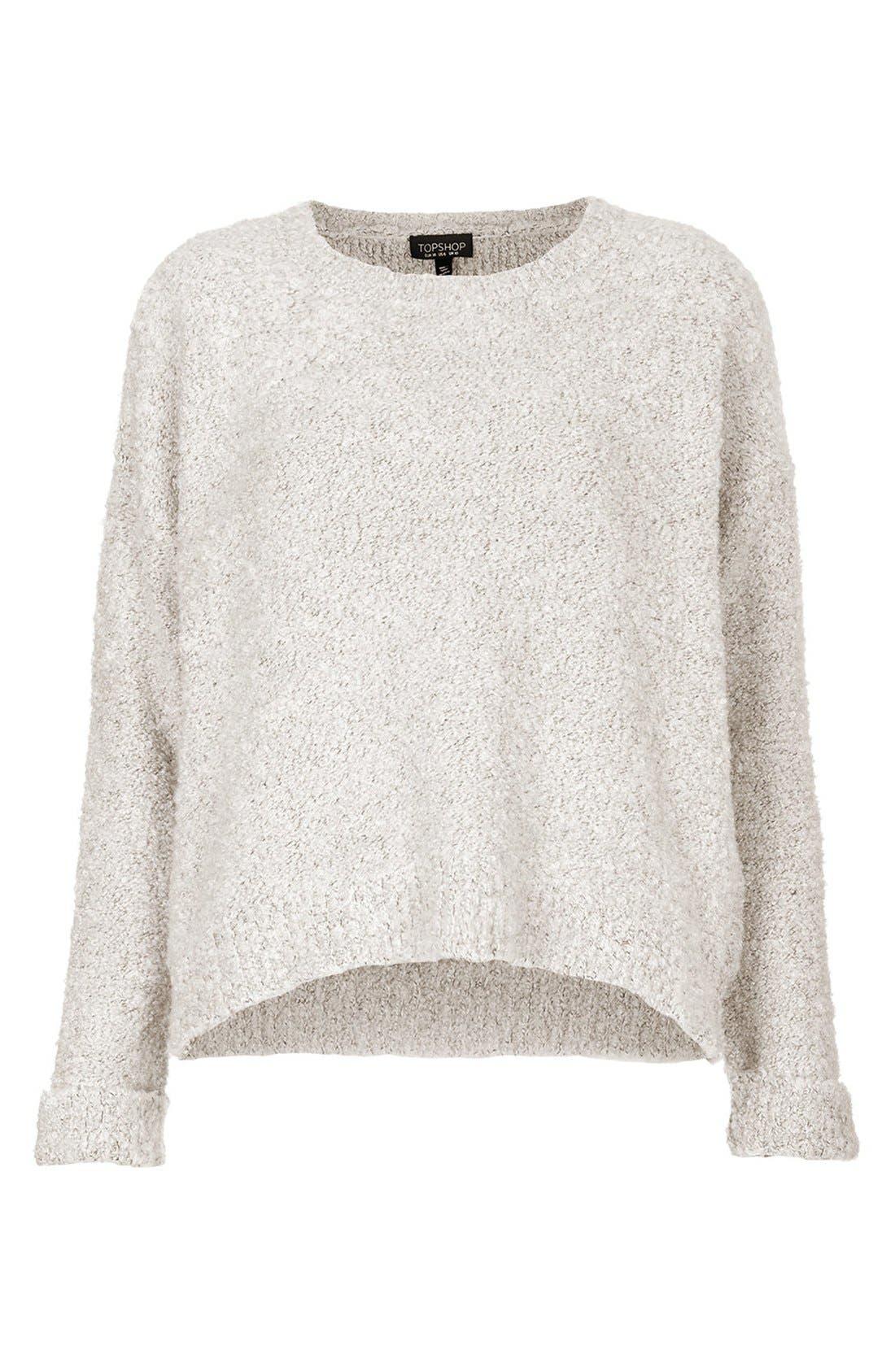 TOPSHOP,                             Bouclé Knit Sweater,                             Alternate thumbnail 4, color,                             100