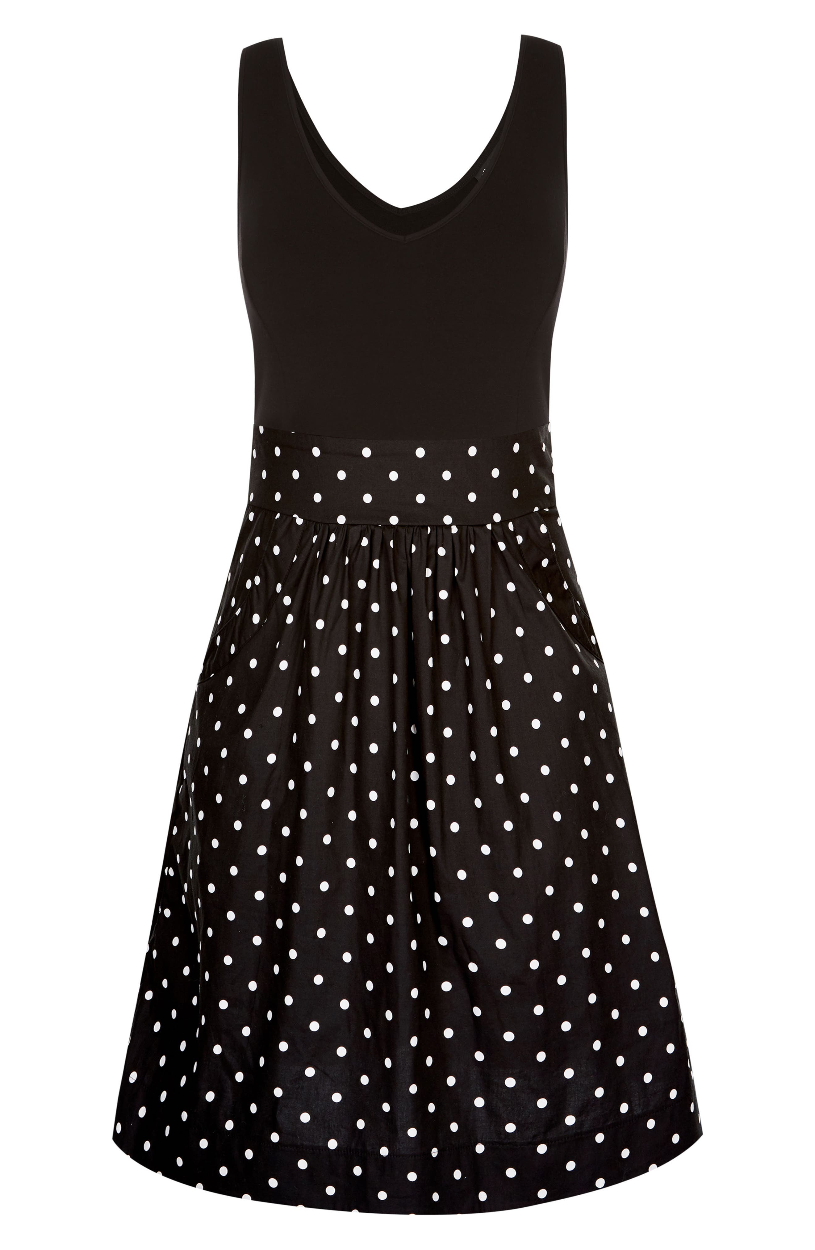 Simply Sweet Fit & Flare Dress,                             Alternate thumbnail 4, color,                             001