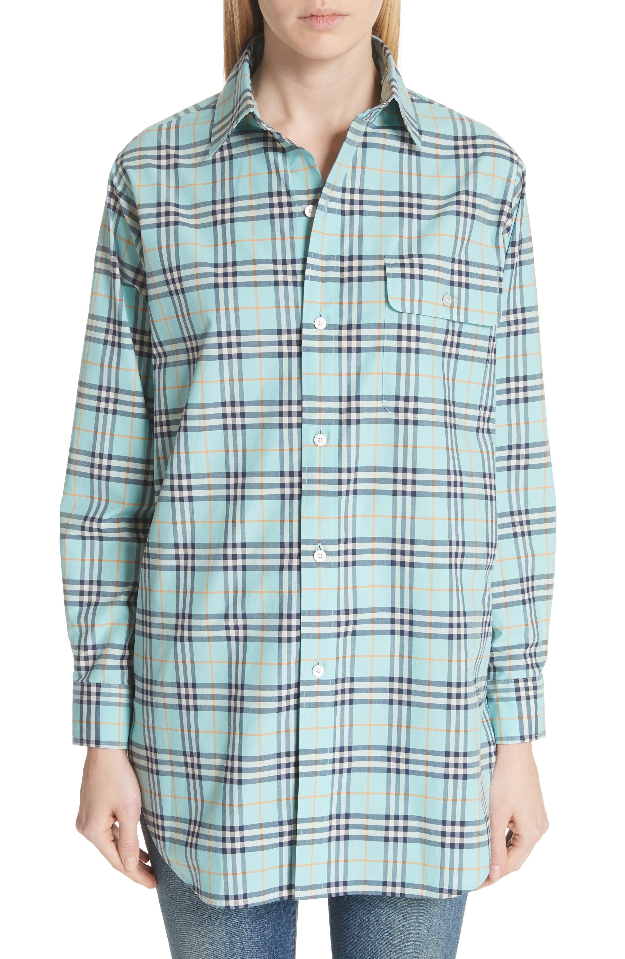 Crow Plaid Shirt,                         Main,                         color, BRIGHT AQUA