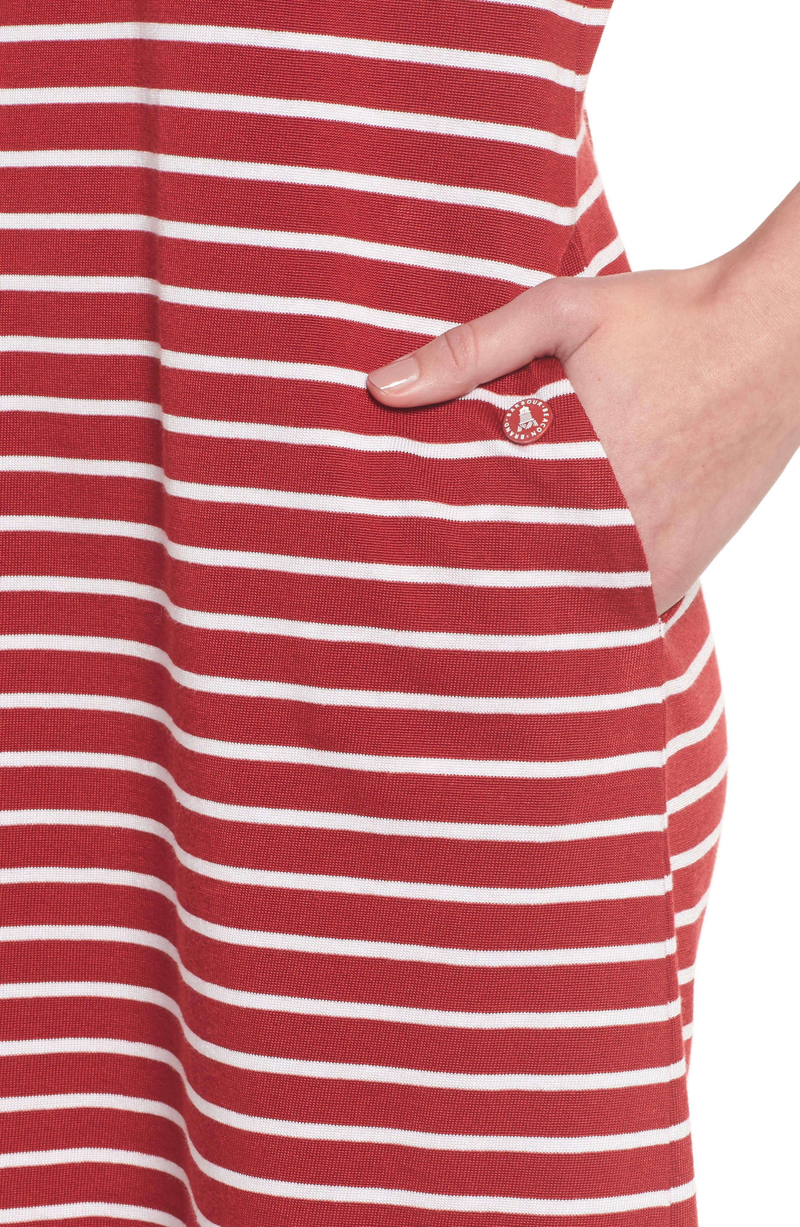 Dalmore Stripe Jersey Sleeveless Shift Dress,                             Alternate thumbnail 4, color,                             630