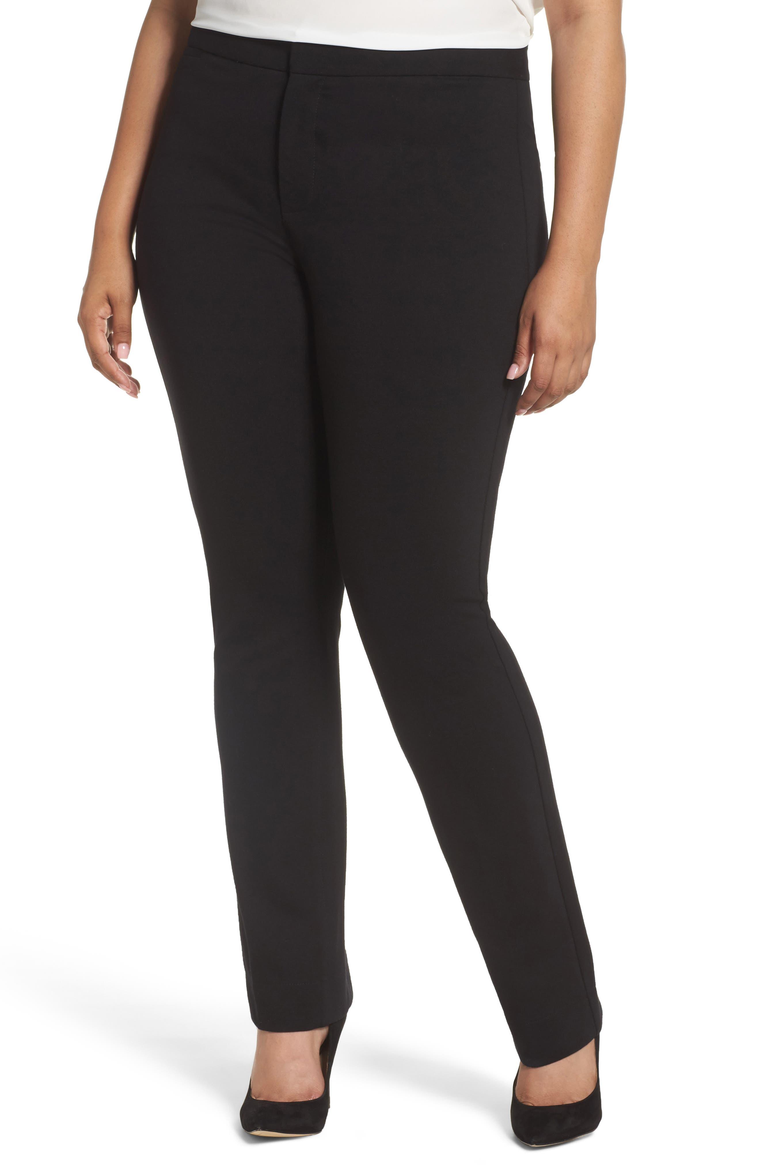 Stretch Knit Straight Leg Trousers,                             Main thumbnail 1, color,                             BLACK