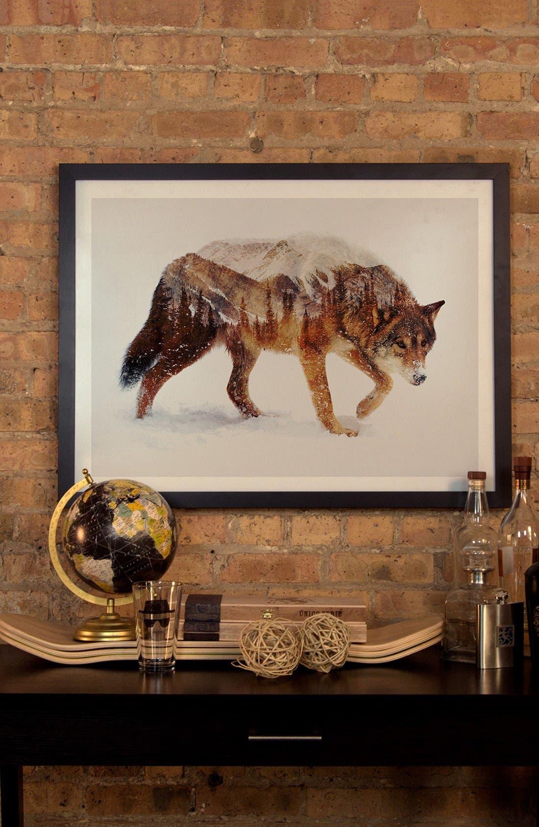 'Arctic Wolf' Framed Fine Art Print,                             Alternate thumbnail 2, color,                             BROWN