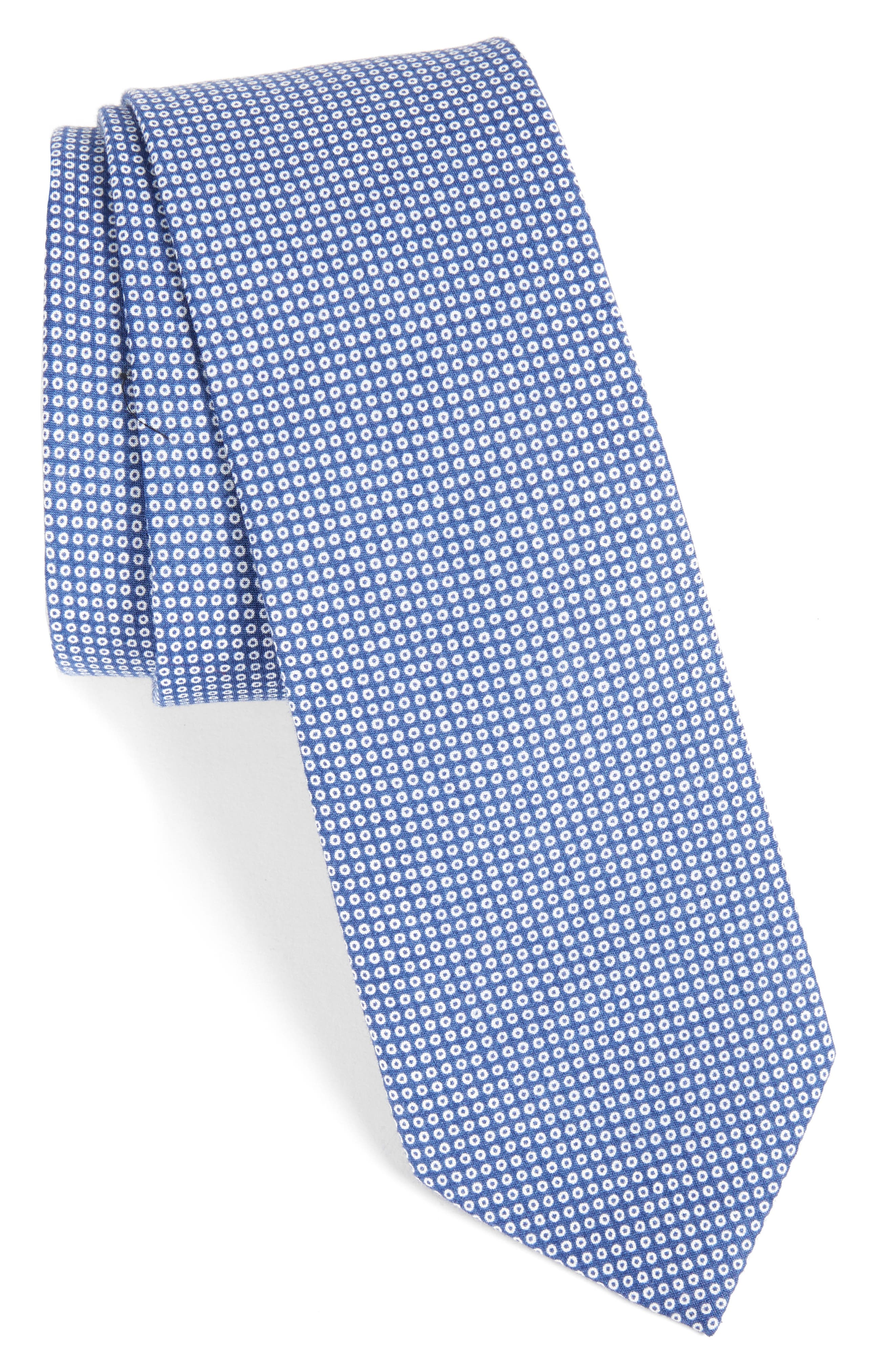 Mini Medallion Cotton Tie,                             Main thumbnail 1, color,                             BLUE
