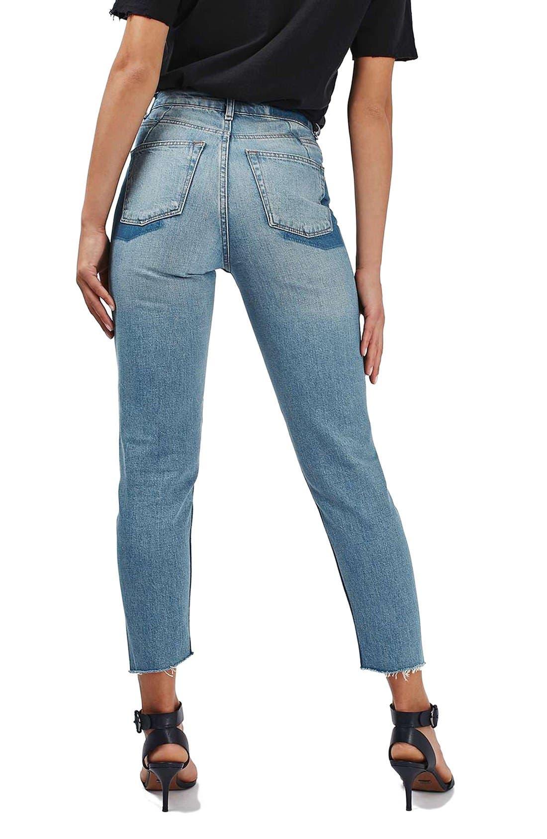 Mom Asymmetrical Step Hem Jeans,                             Alternate thumbnail 5, color,                             400
