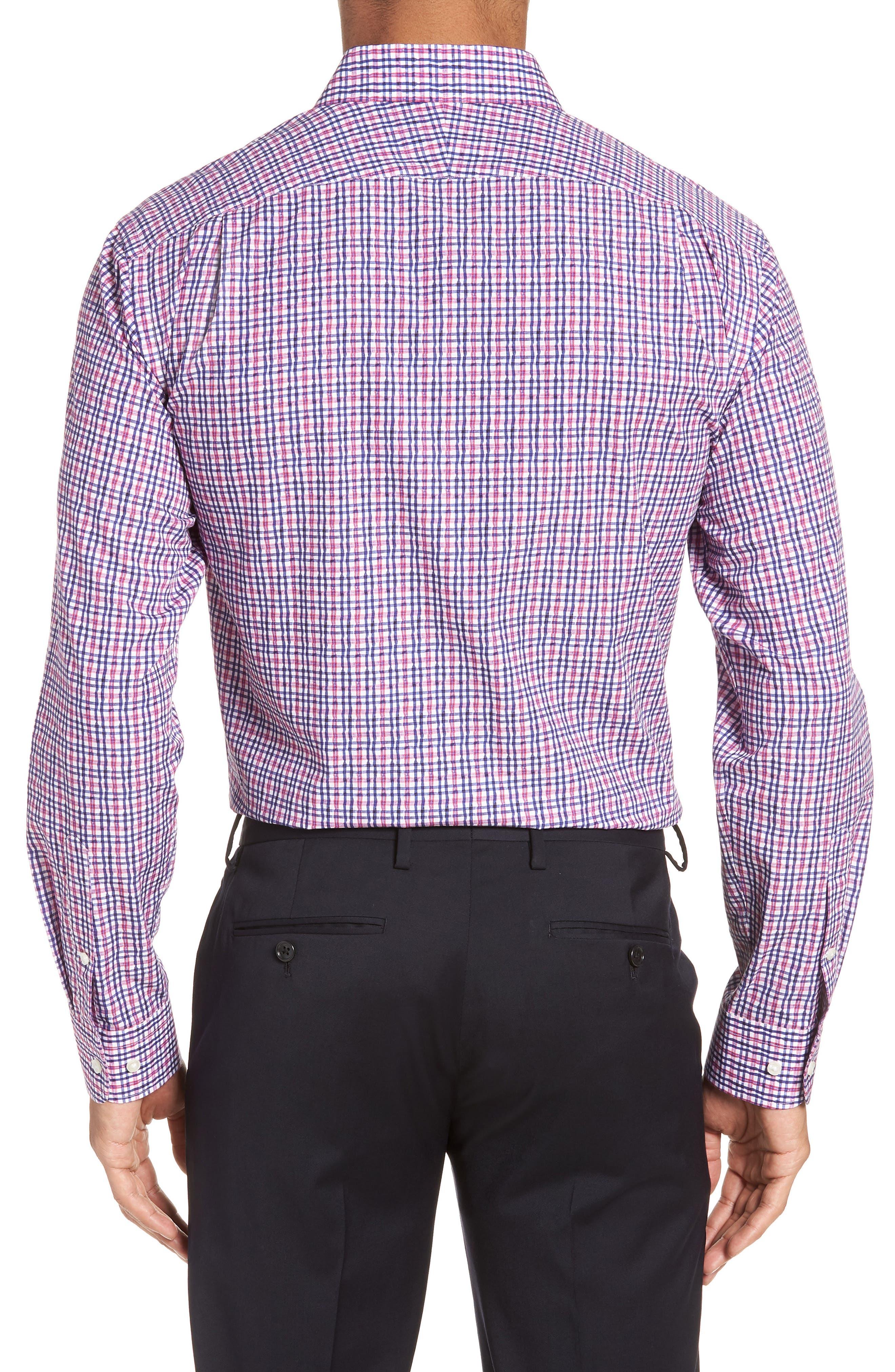 Trim Fit Plaid Dress Shirt,                             Alternate thumbnail 3, color,                             660
