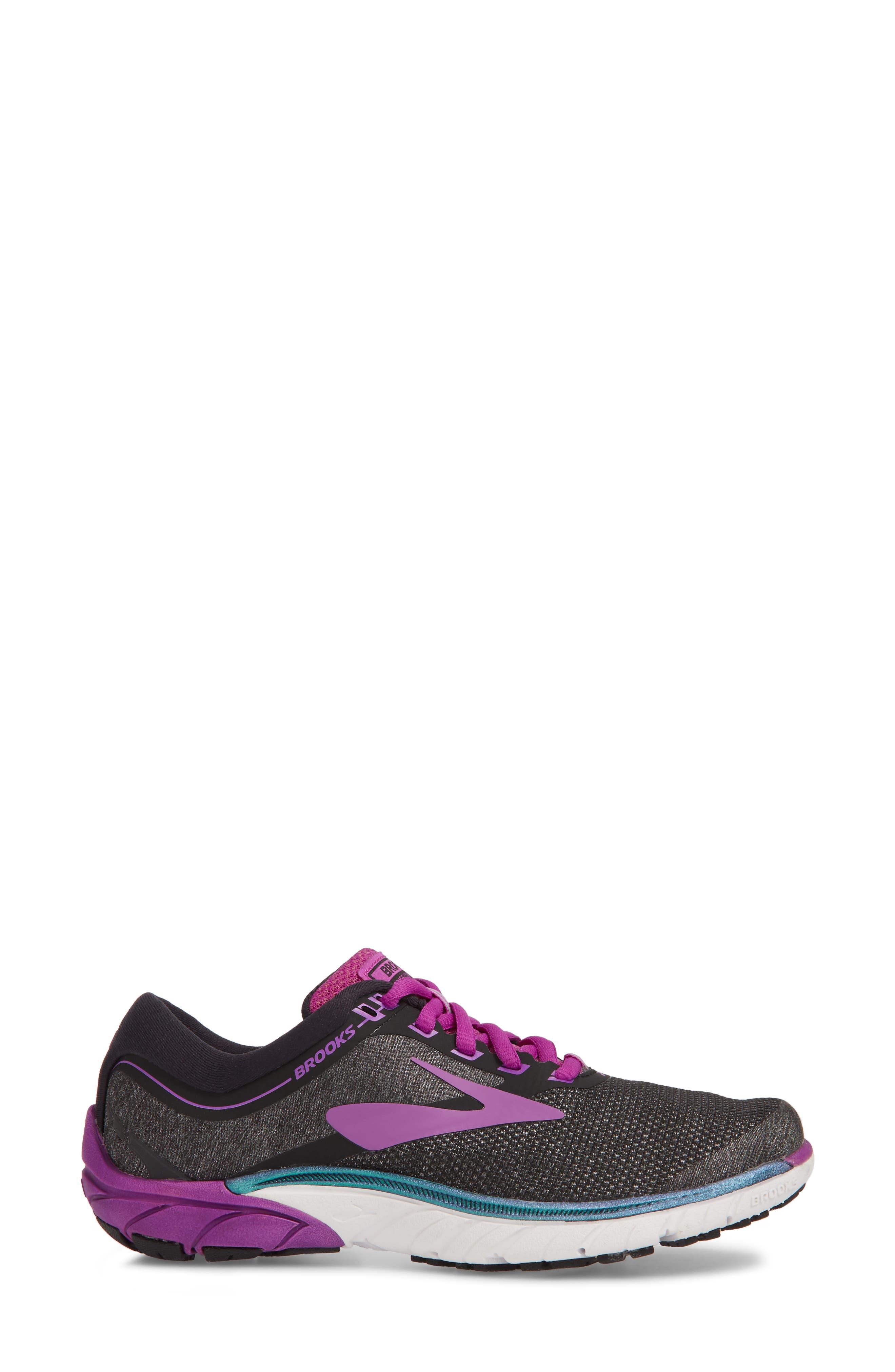 PureCadence 7 Road Running Shoe,                             Alternate thumbnail 3, color,                             BLACK/ PURPLE/ MULTI