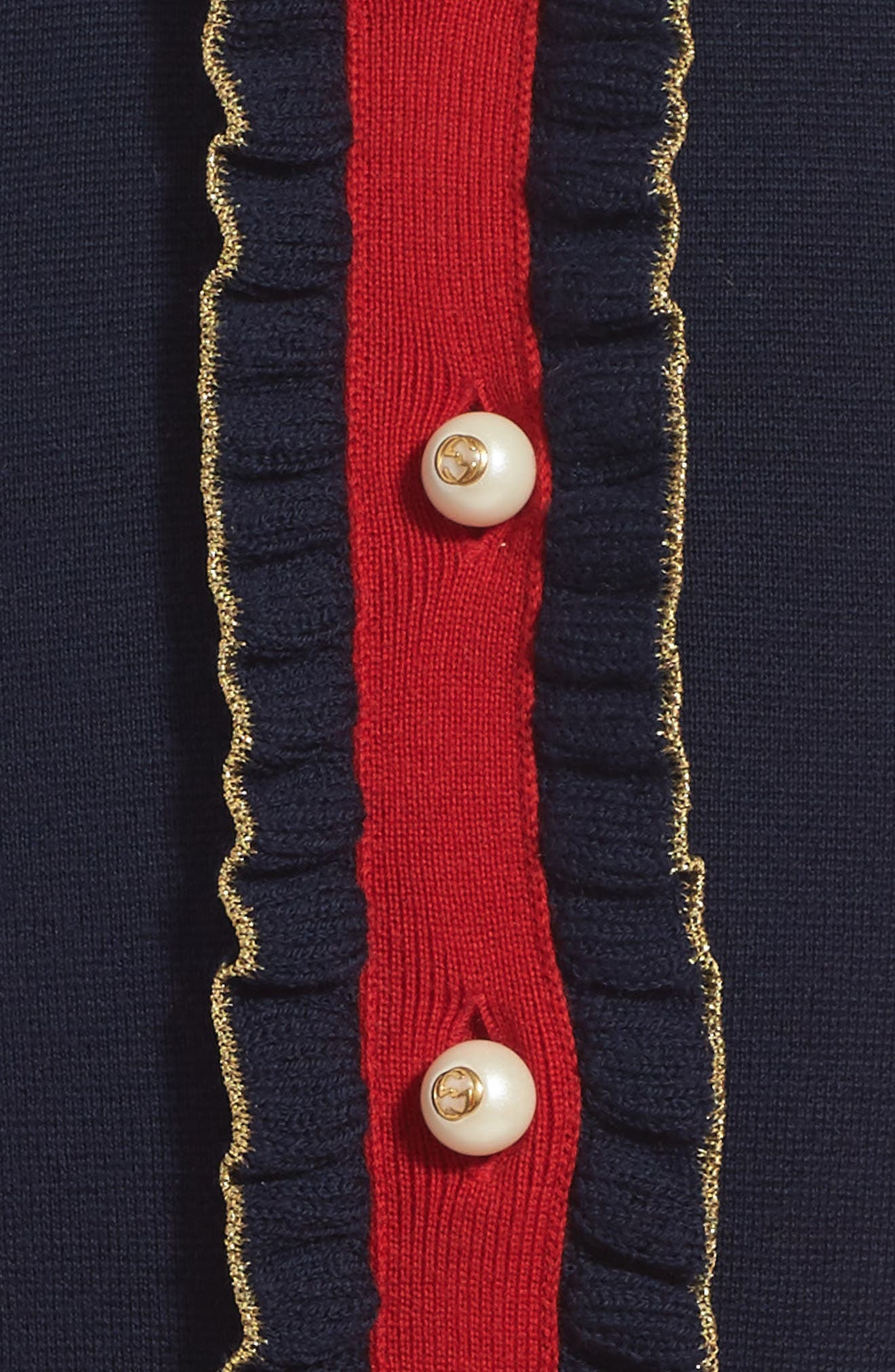 Wool Polo Dress,                             Alternate thumbnail 4, color,                             BLUE MULTI