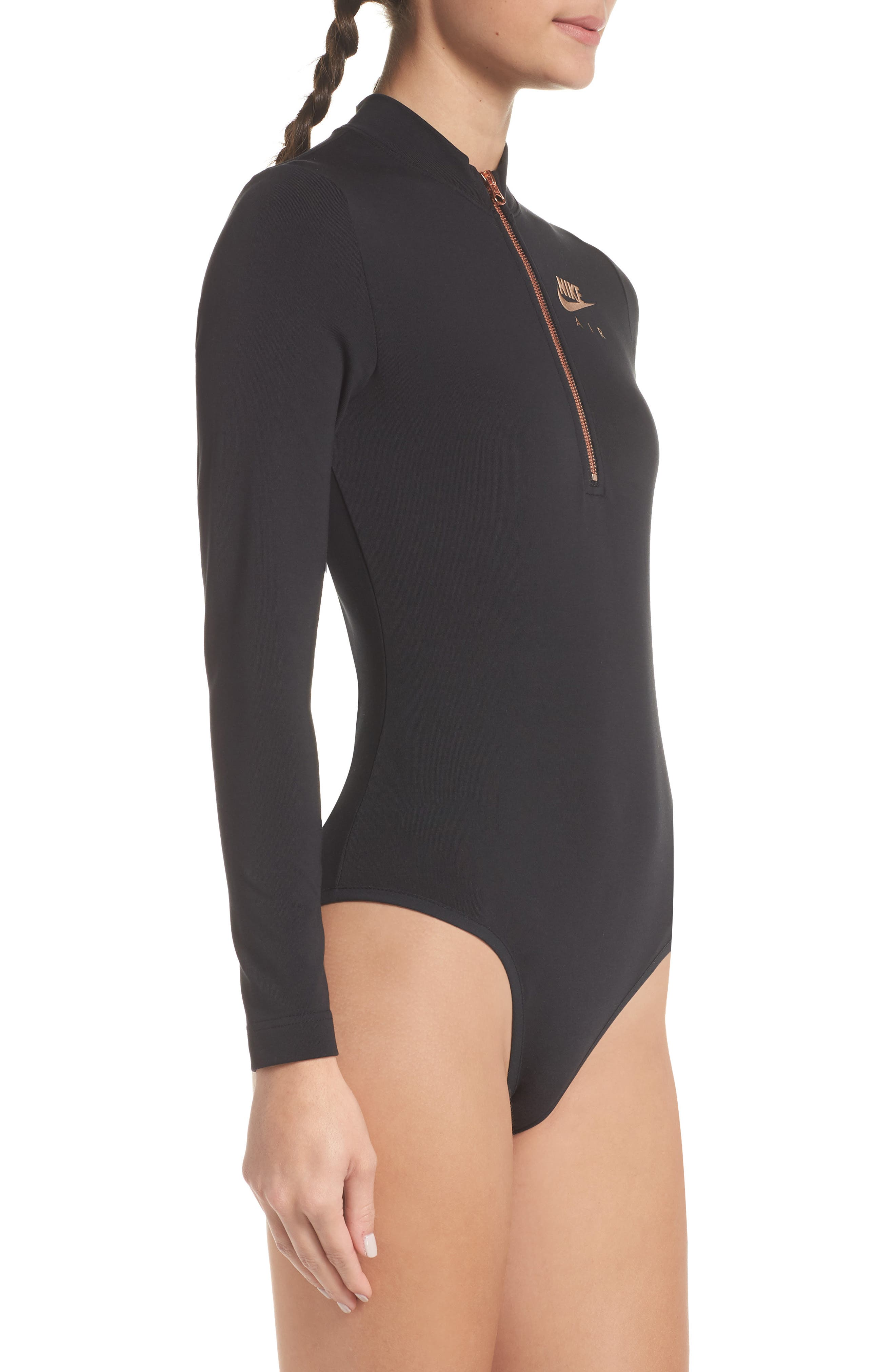 Sportswear Women's Long Sleeve Bodysuit,                             Alternate thumbnail 4, color,                             BLACK/ ROSE GOLD