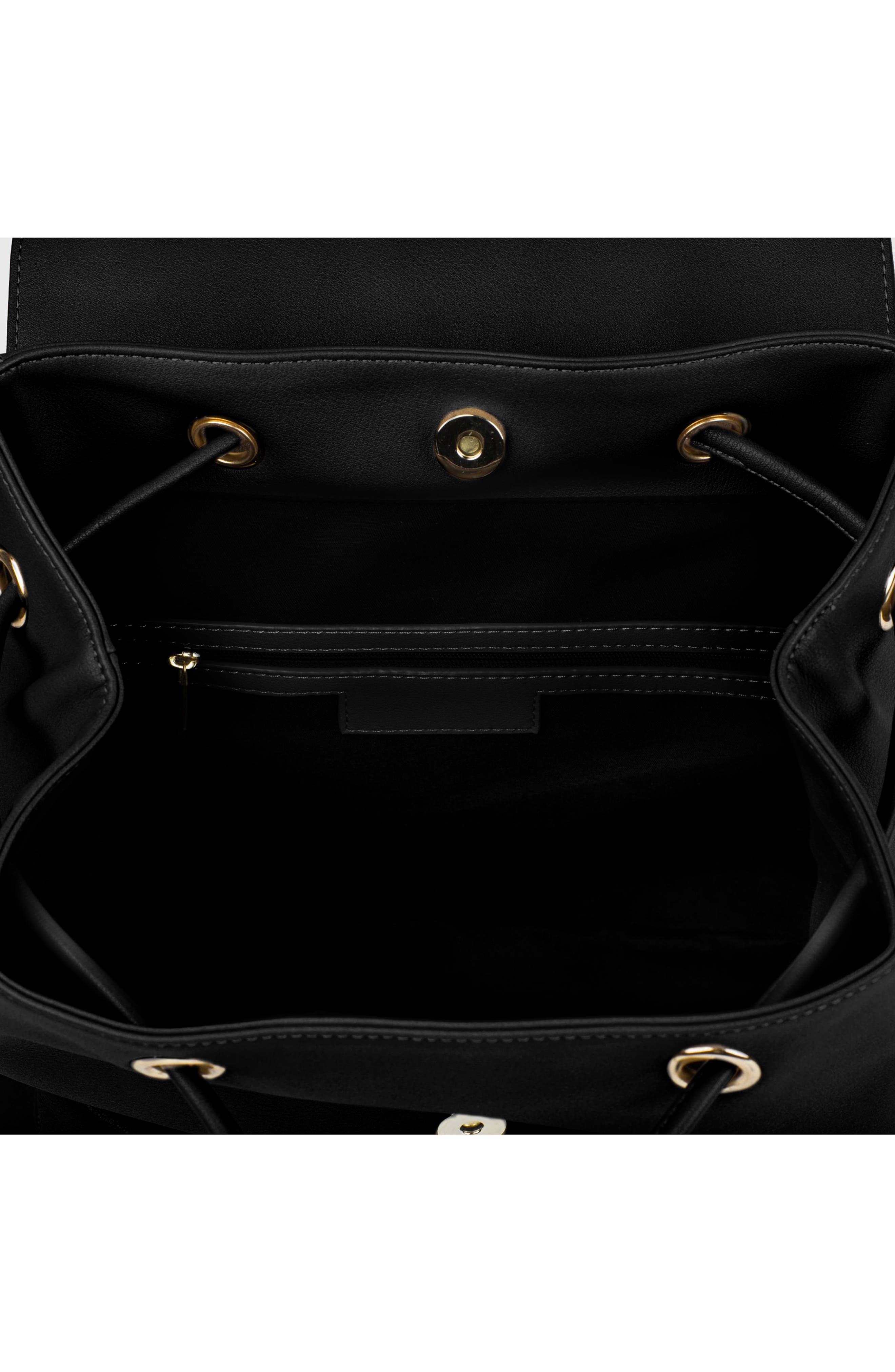 The Thrill Vegan Leather Backpack,                             Alternate thumbnail 3, color,                             BLACK