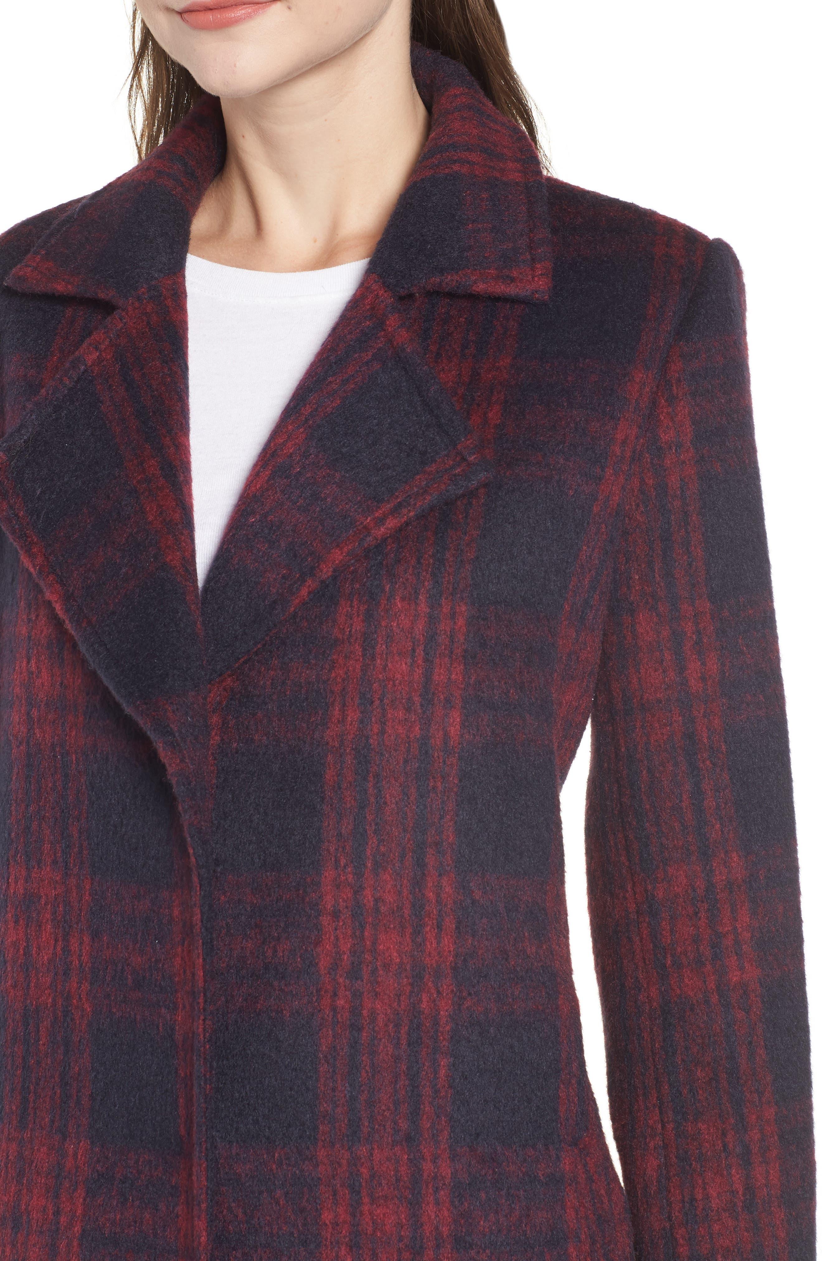 Brushed Plaid Coat,                             Alternate thumbnail 4, color,                             RED VELVET