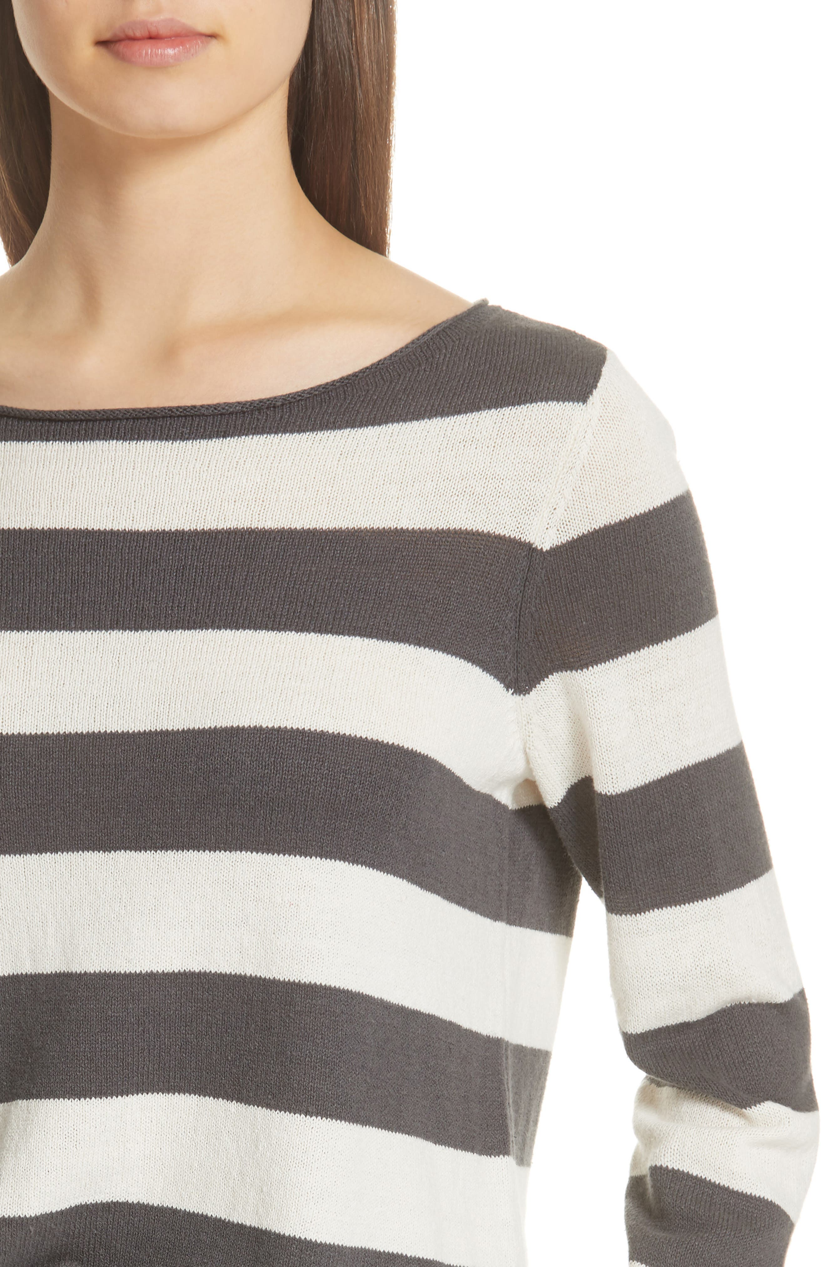 Stripe Cotton & Hemp Sweater,                             Alternate thumbnail 4, color,                             166