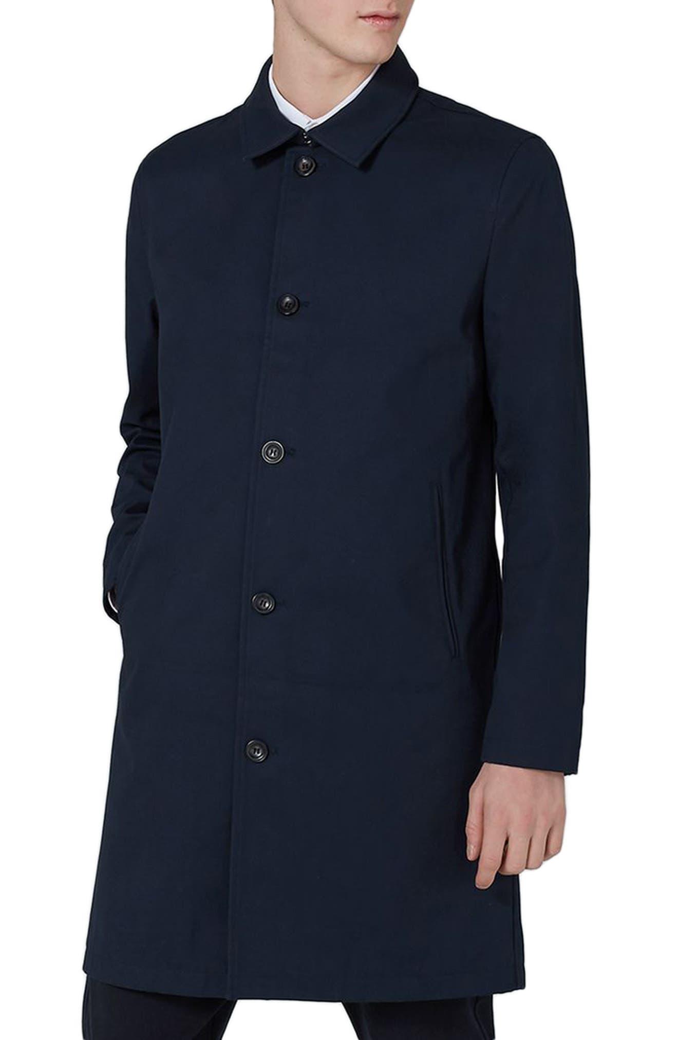 Single Breasted Topcoat,                             Main thumbnail 1, color,                             DARK BLUE