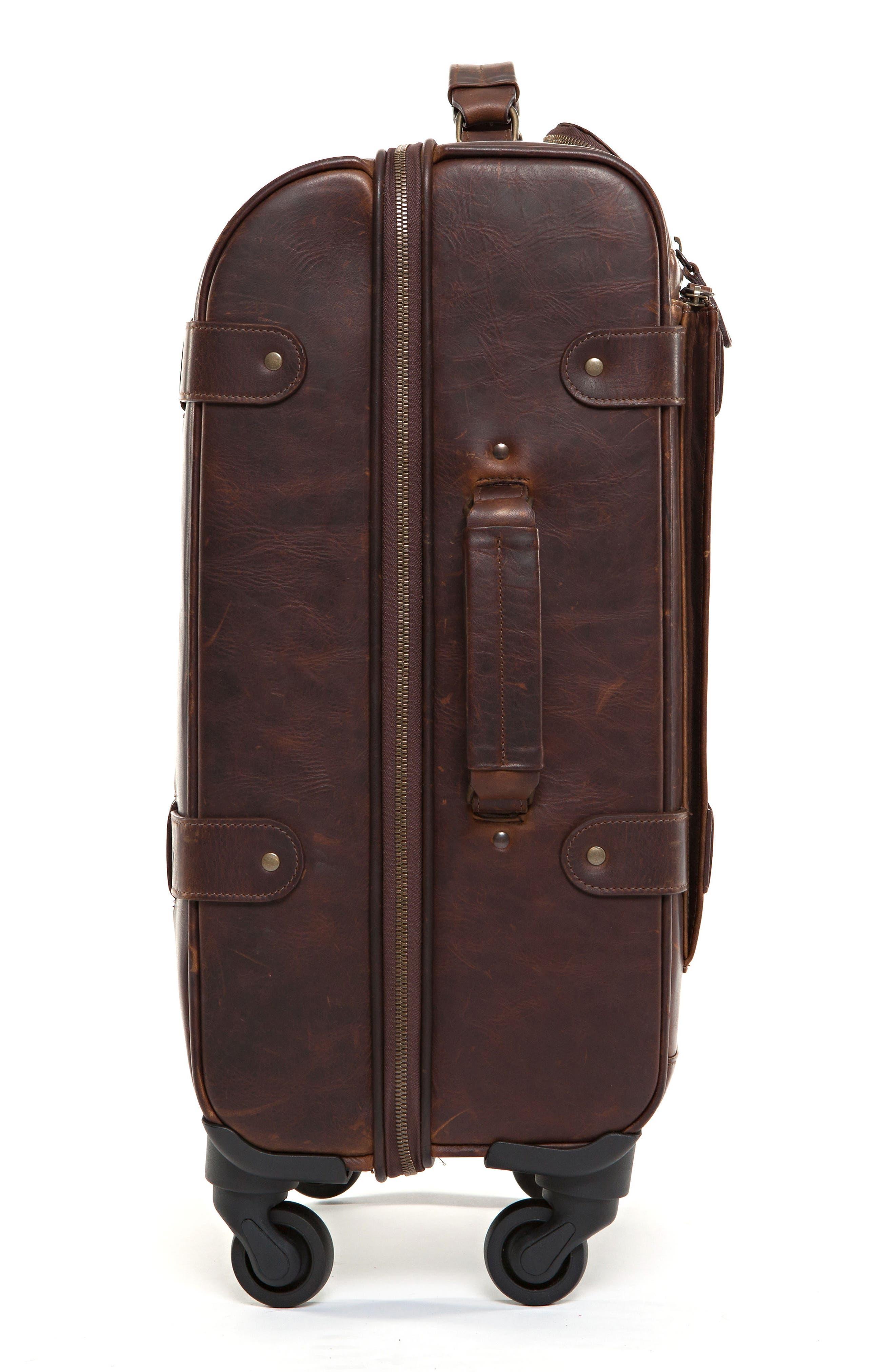 Parker 22-Inch Leather Wheeled Suitcase,                             Alternate thumbnail 3, color,                             BALDWIN OAK