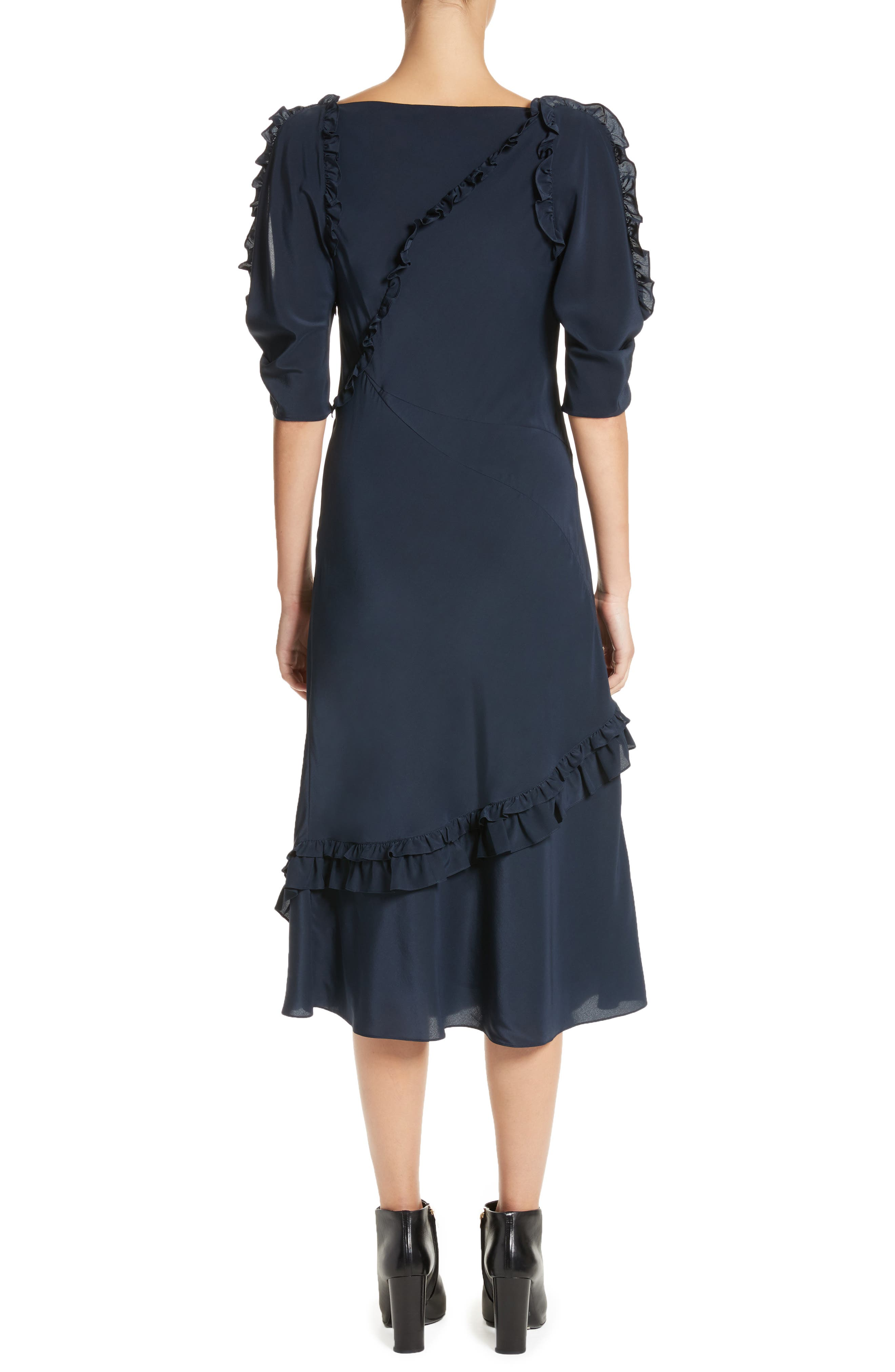 Didi Ruffle Silk Dress,                             Alternate thumbnail 2, color,                             410