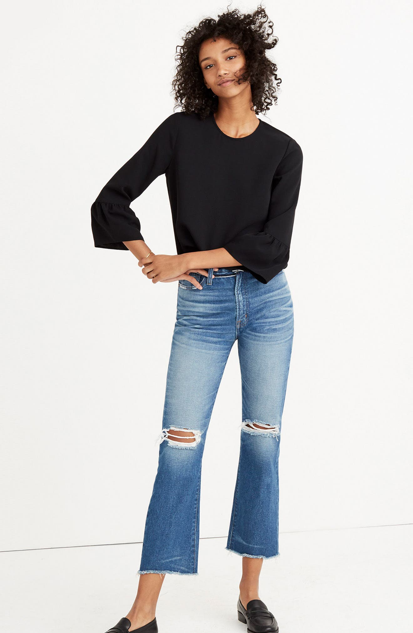 Bell Sleeve Top,                             Alternate thumbnail 3, color,                             001