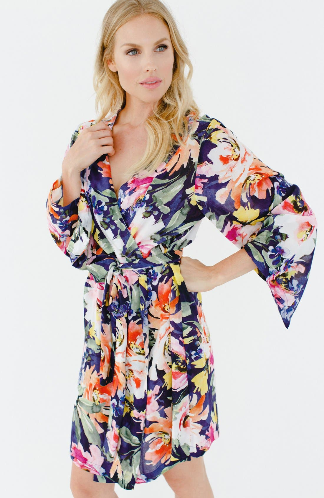 Floral Print Kimono Robe,                             Alternate thumbnail 2, color,